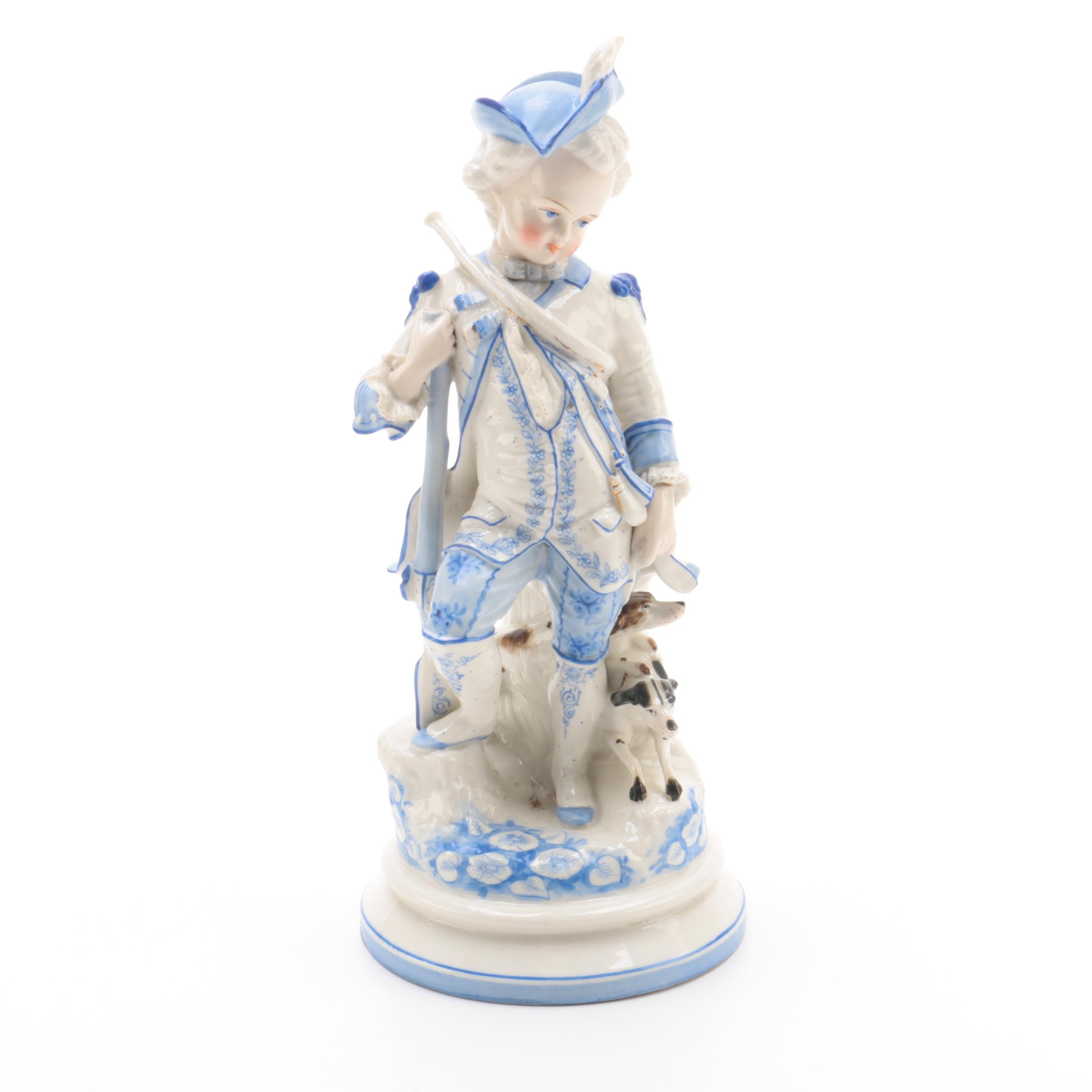 18th Century Style Figurine of Boy with Dogs