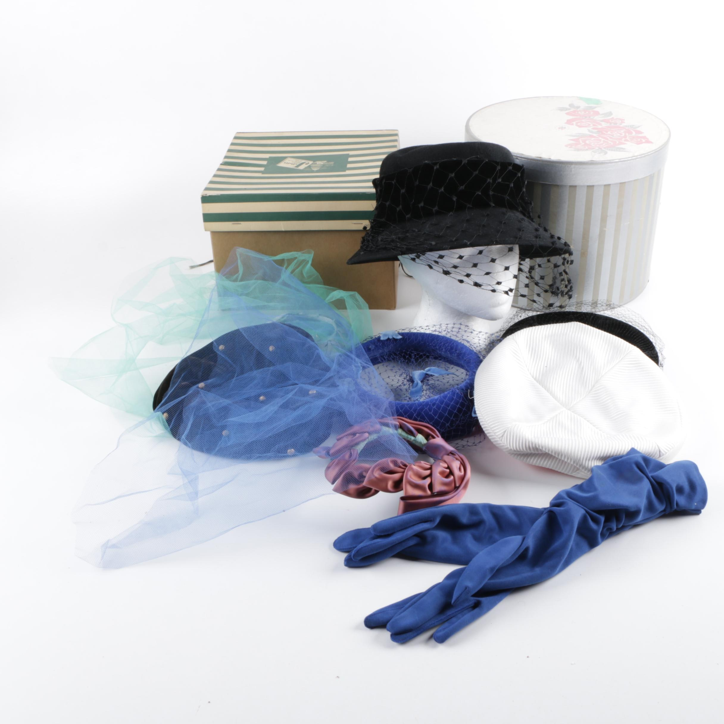 Seven Women's Vintage Hats and Headpieces and Pair of Gloves
