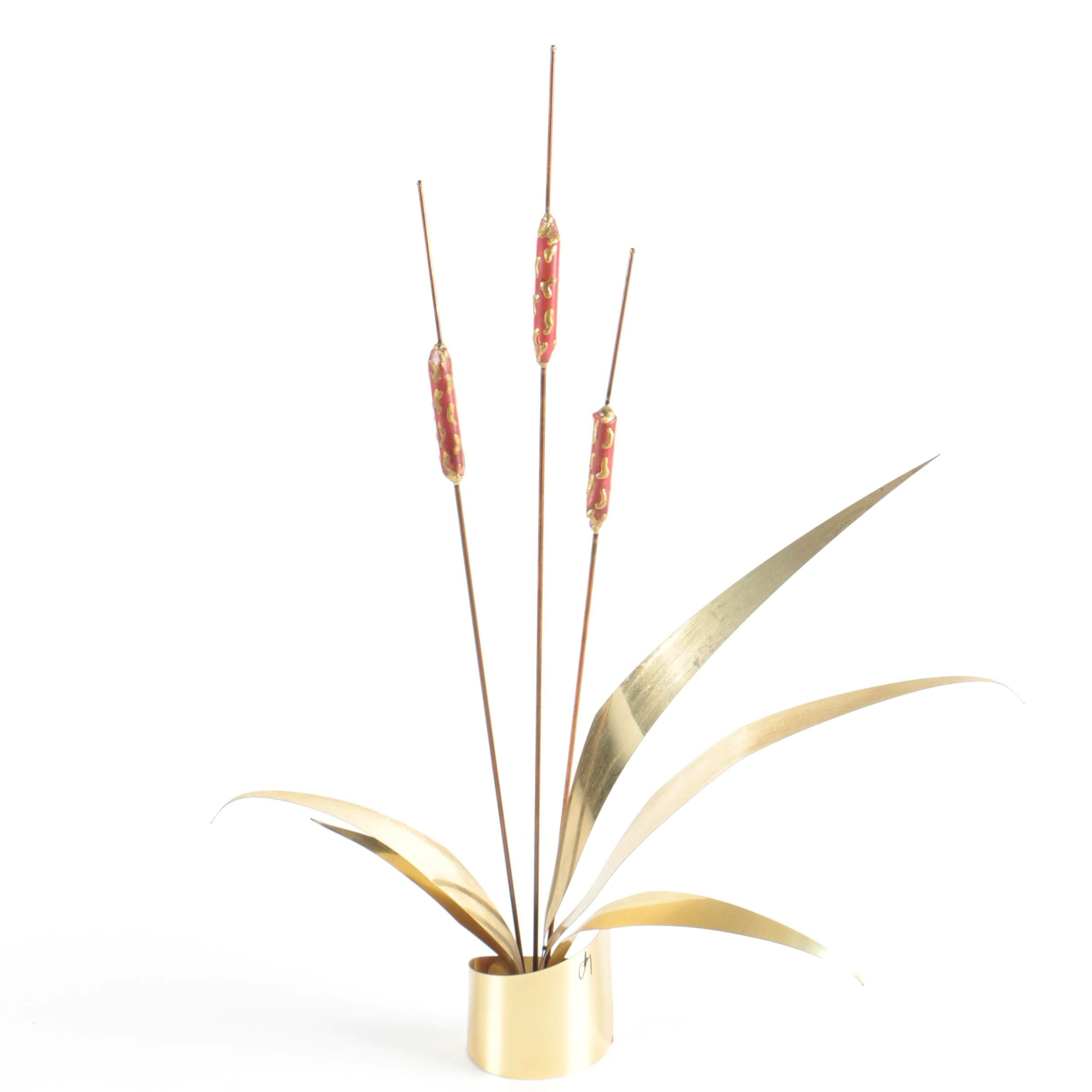 Mid-Century Modern Artificial Brass Cattail Plant
