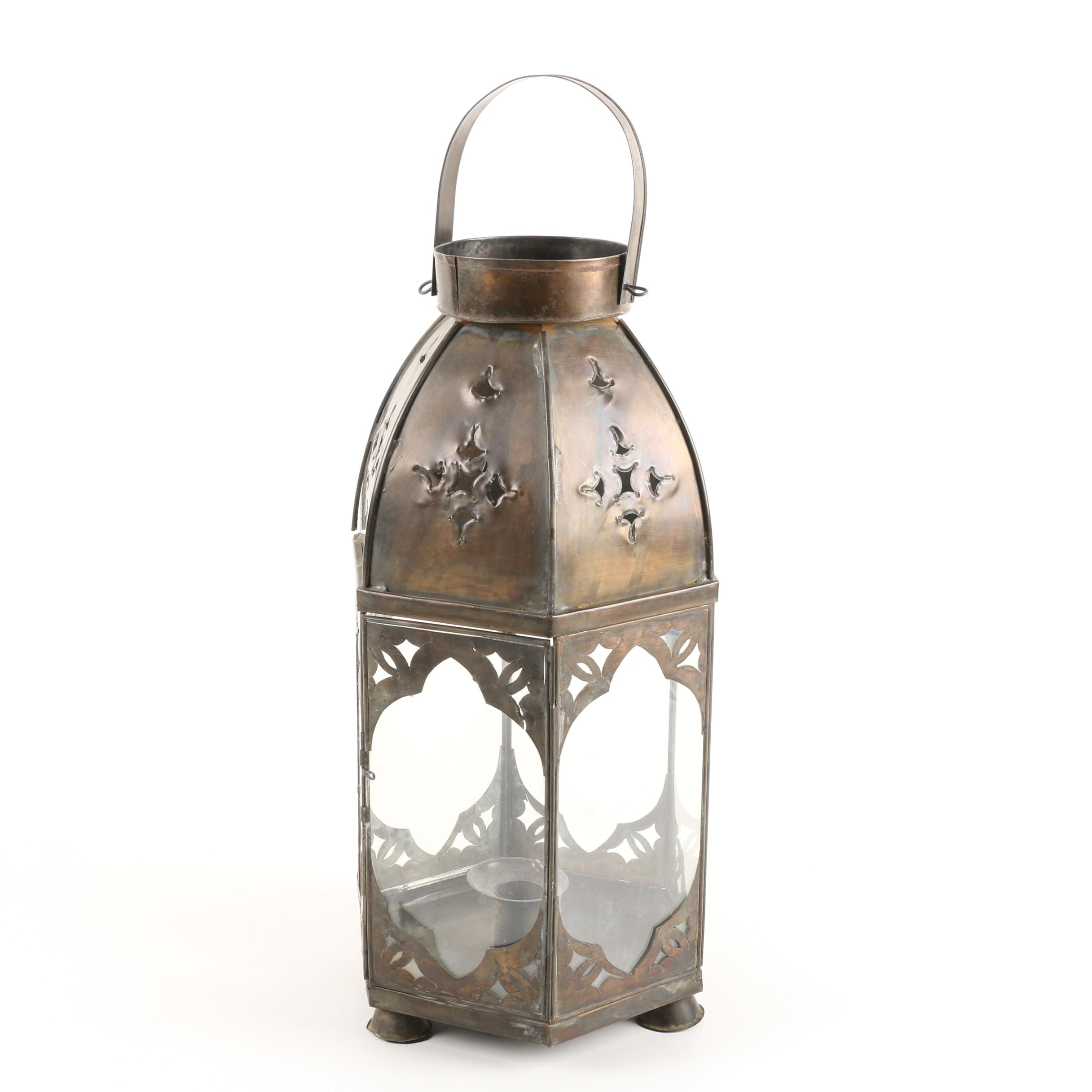 Punched Copper Candle Lantern