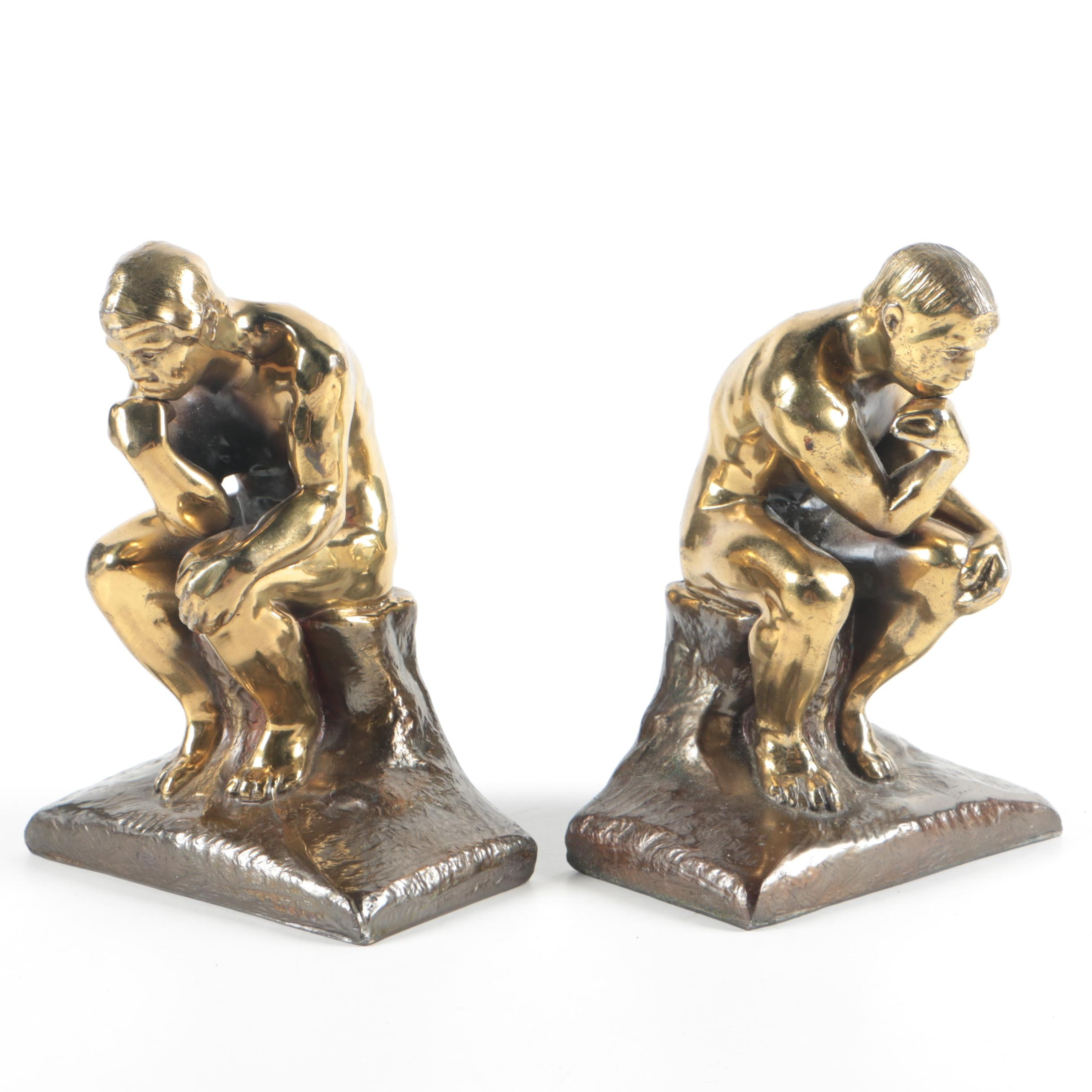"""Brass """"The Thinker"""" Bookends"""