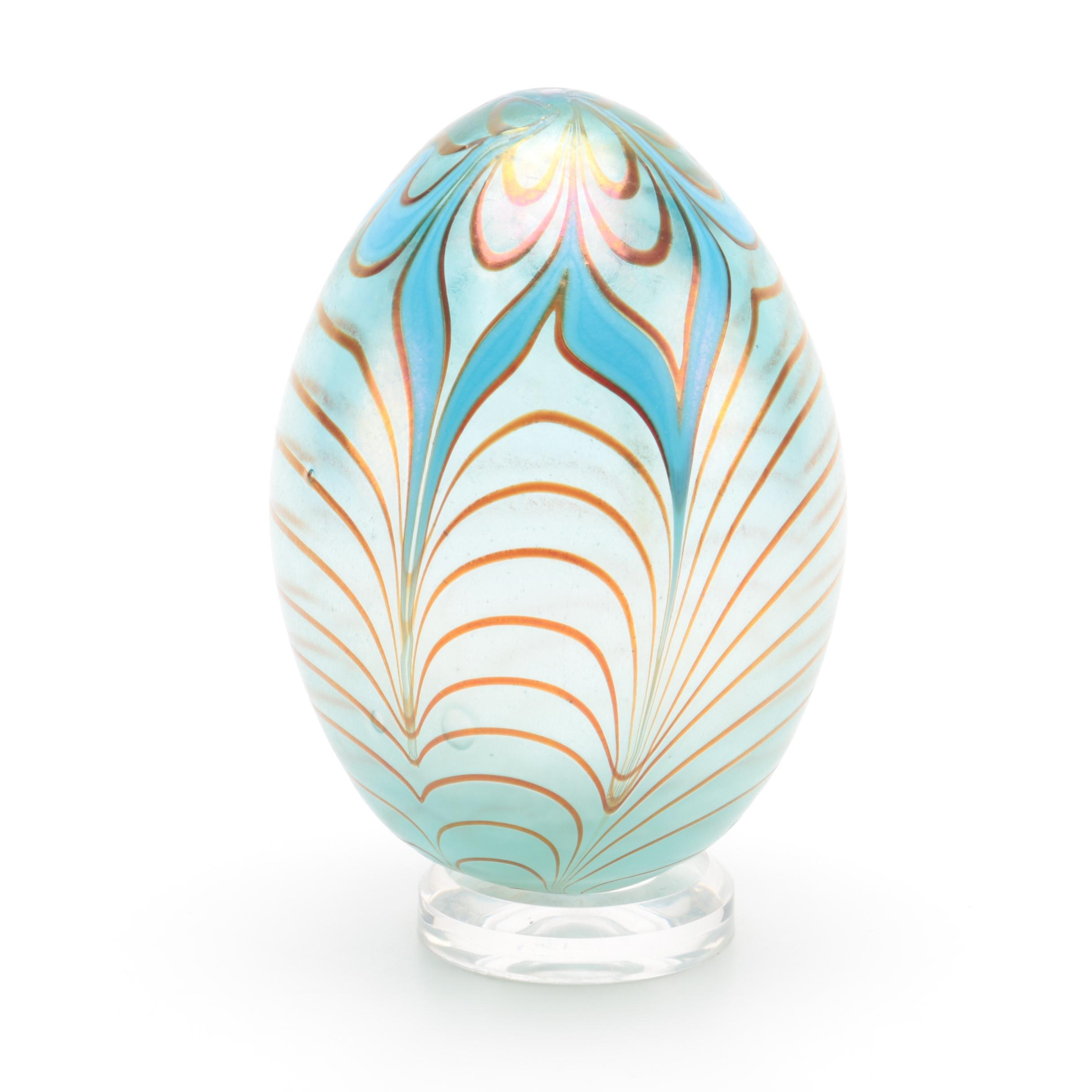 Hand-Painted Hand-Blown Glass Decorative Egg