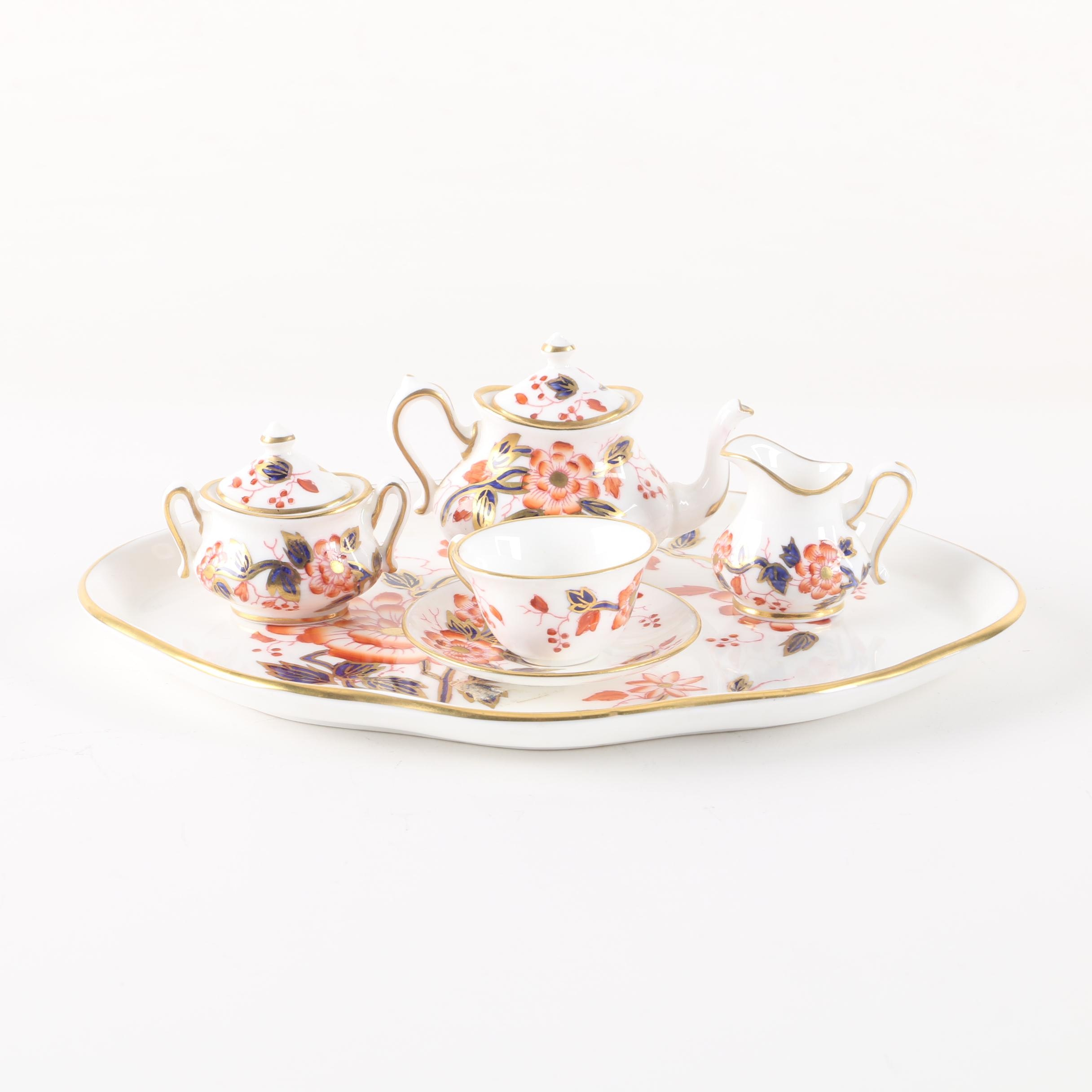 Crown Staffordshire Porcelain Miniature Tea Set