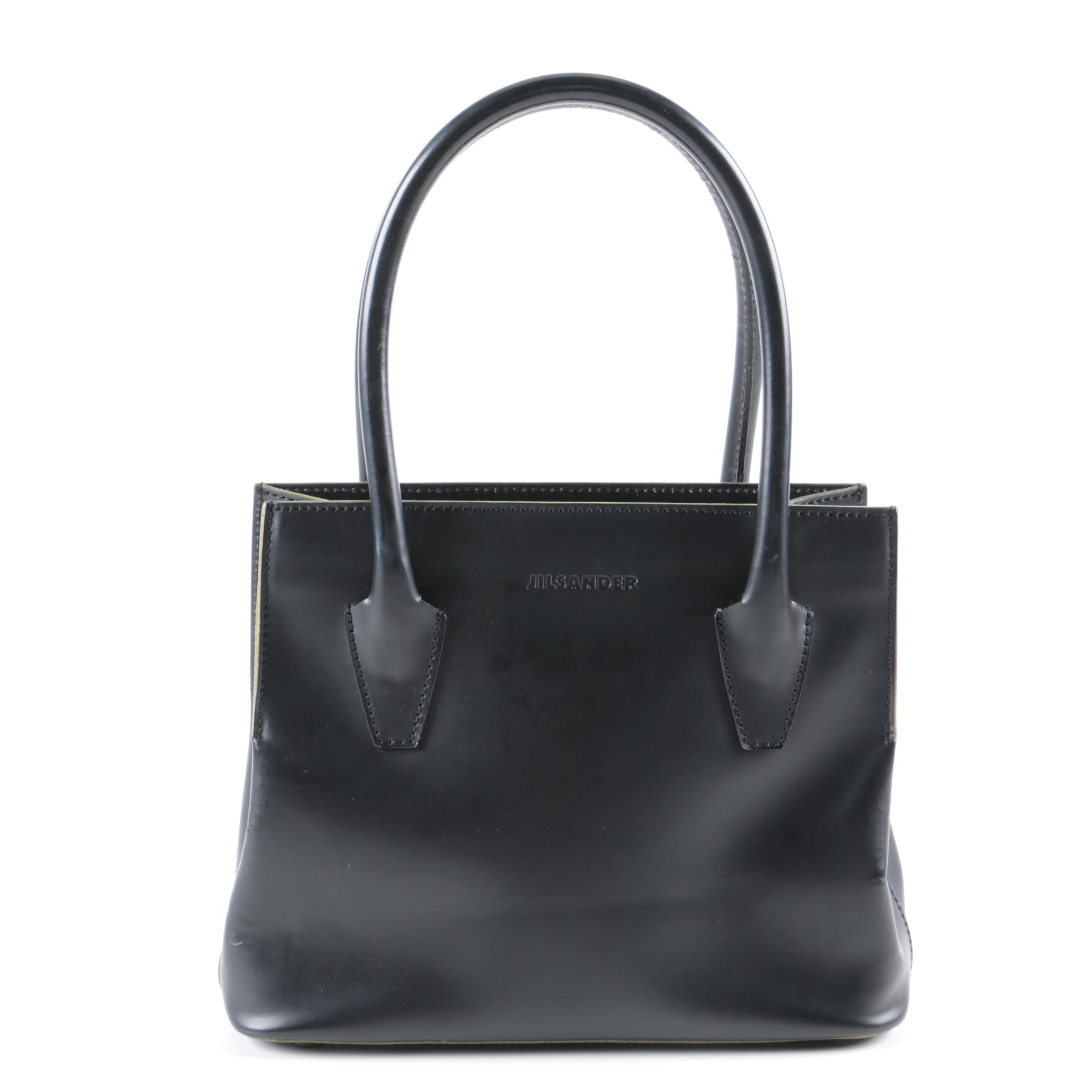 Jil Sander Black Leather Handbag, Made in Italy