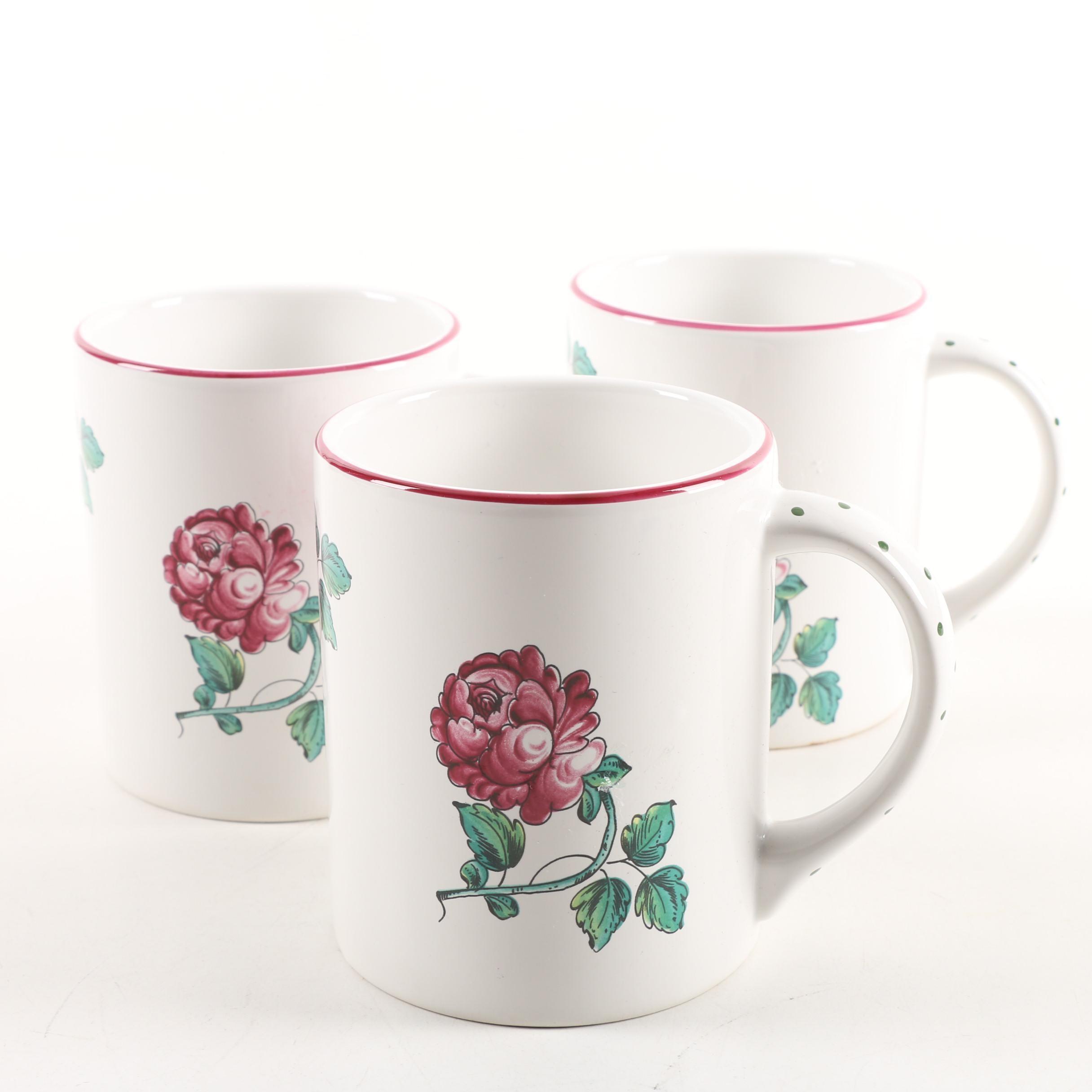 "Vintage Tiffany & Co. ""Strasbourg Flowers"" Stoneware Mugs"