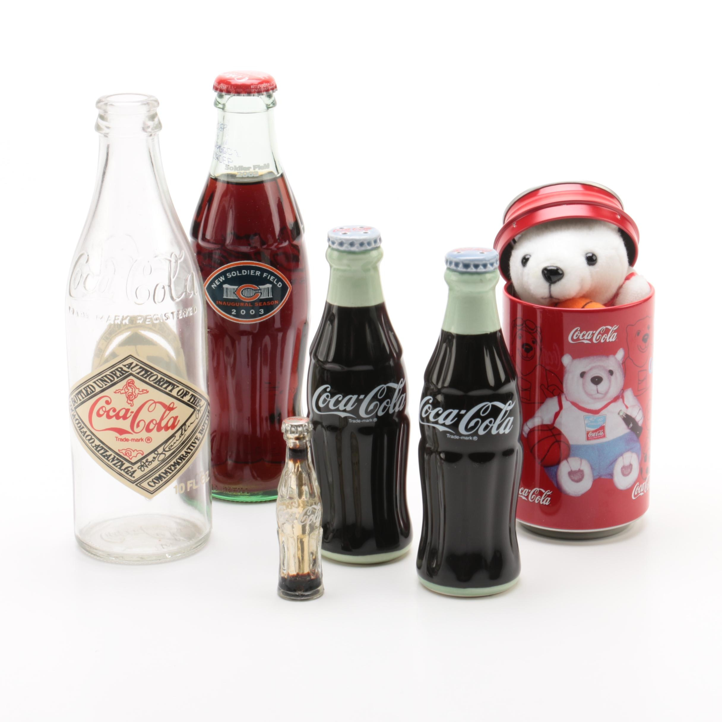 Coca-Cola Themed Collectibles Including Salt and Pepper Shakers