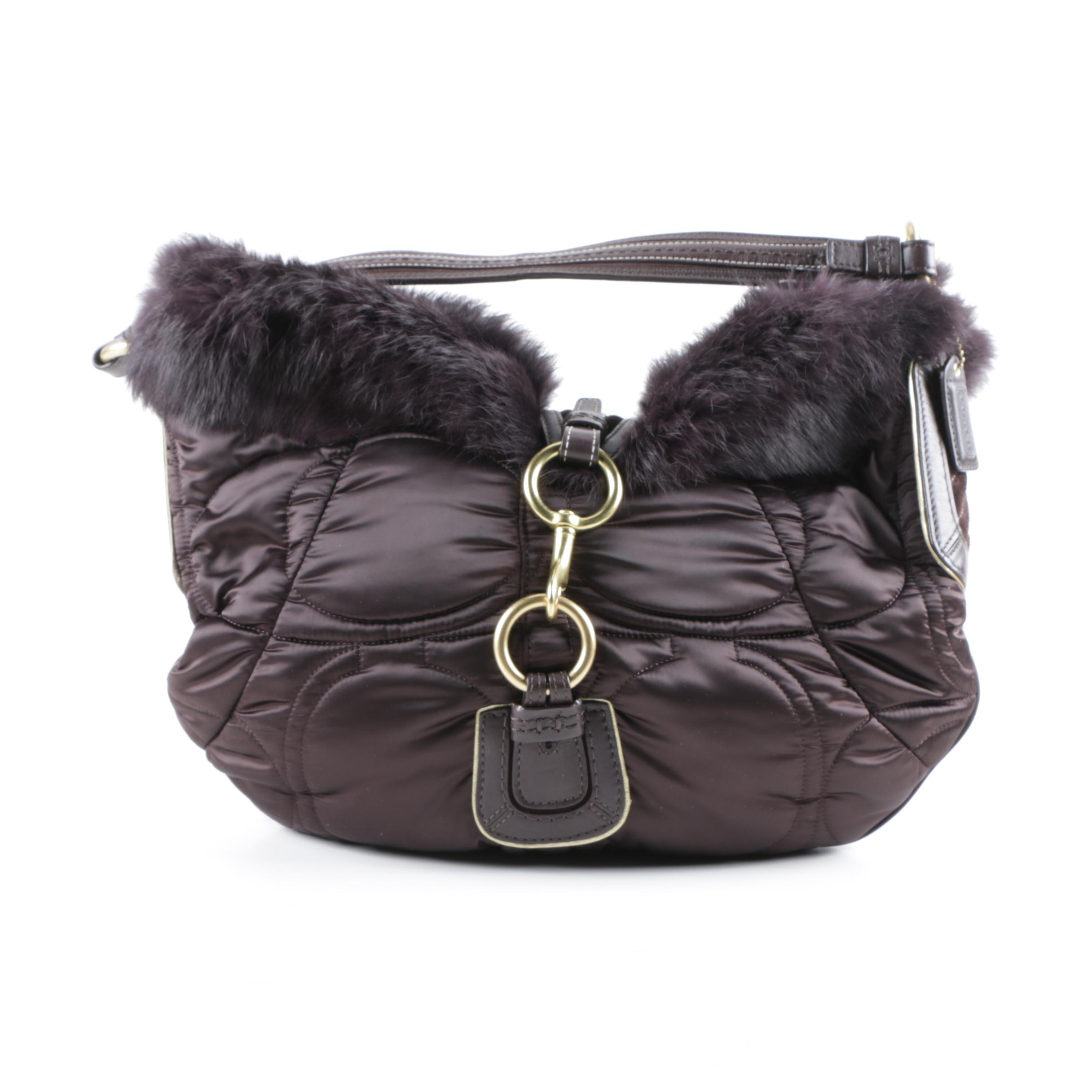 2005 Coach Soho Quilted Sateen Handbag with Rabbit Fur Trim