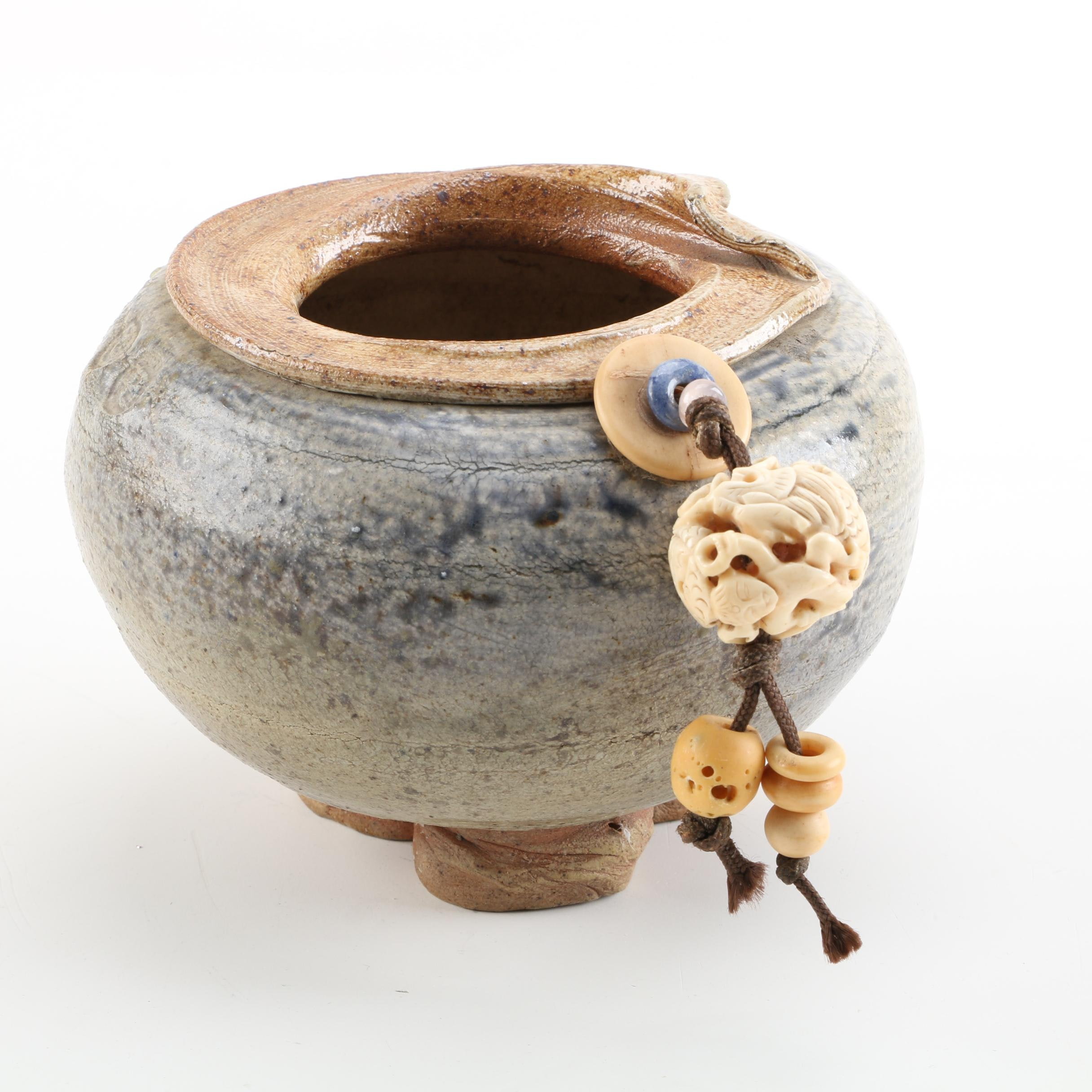 Wheel Thrown Stoneware Candle Holder with Bone Tassel