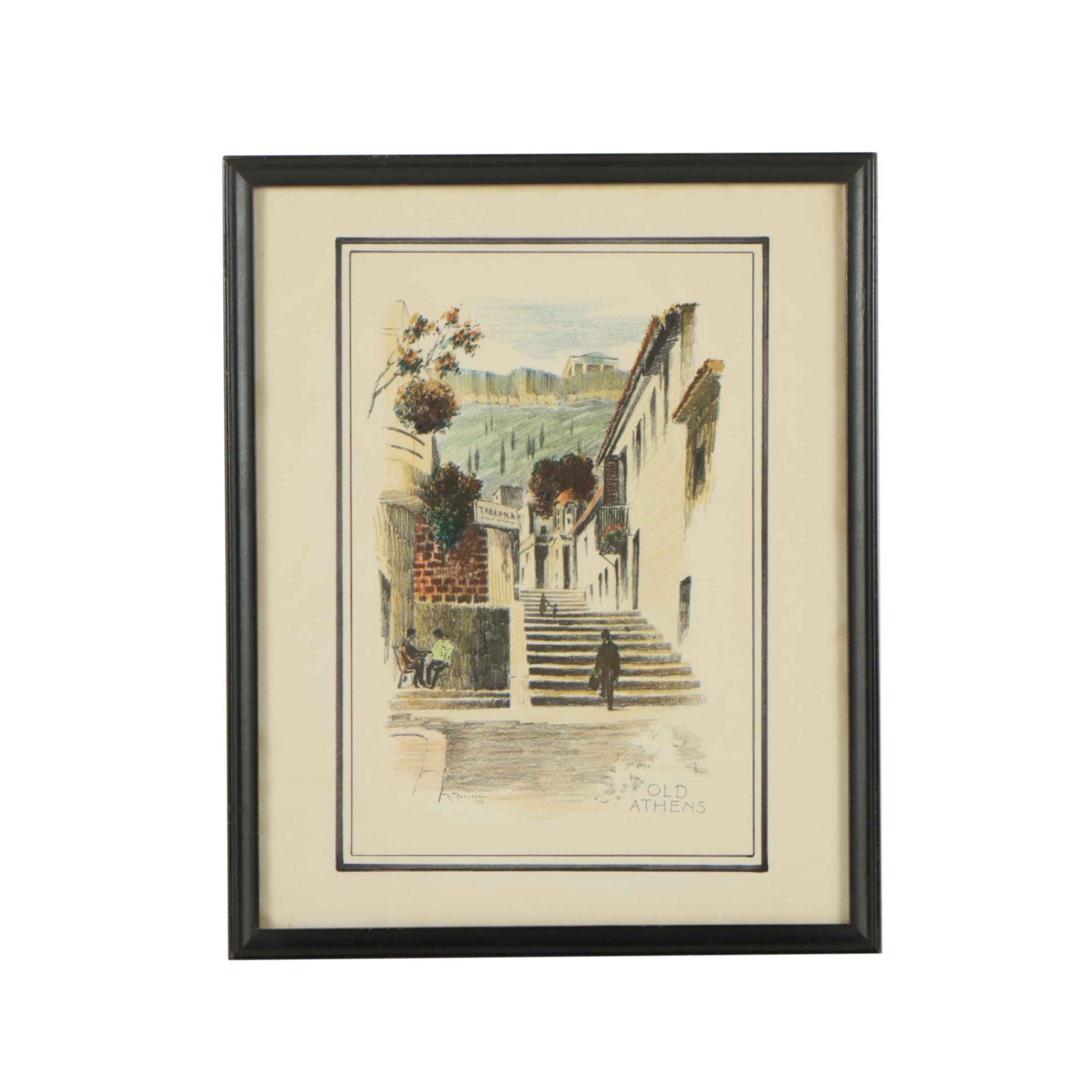 "After F. Parilla Vintage Hand-Colored Halftone Print ""Old Athens"""