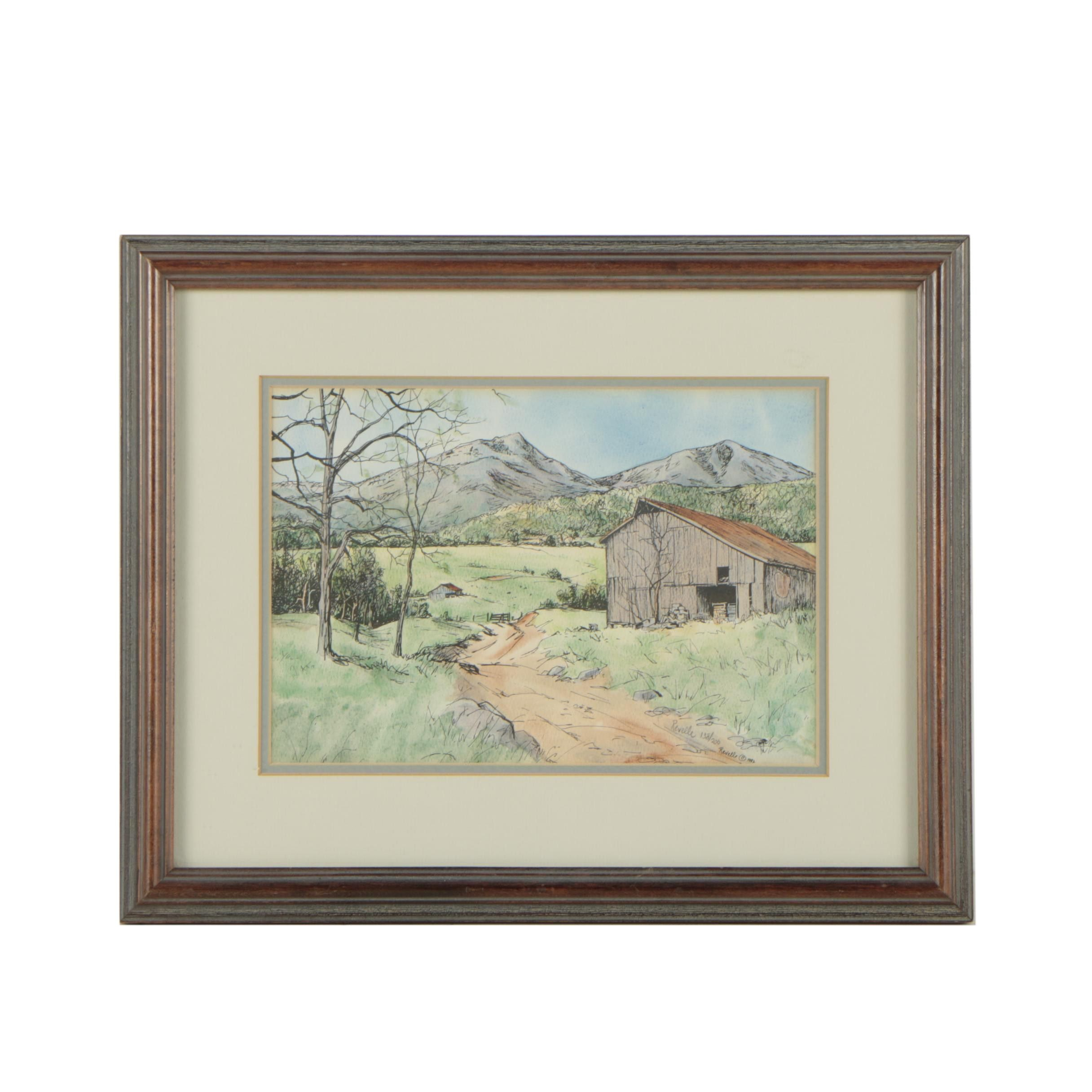 """Revelle Hamilton Vintage Hand-Painted Lithograph Print """"The Peaks Of Otter"""""""