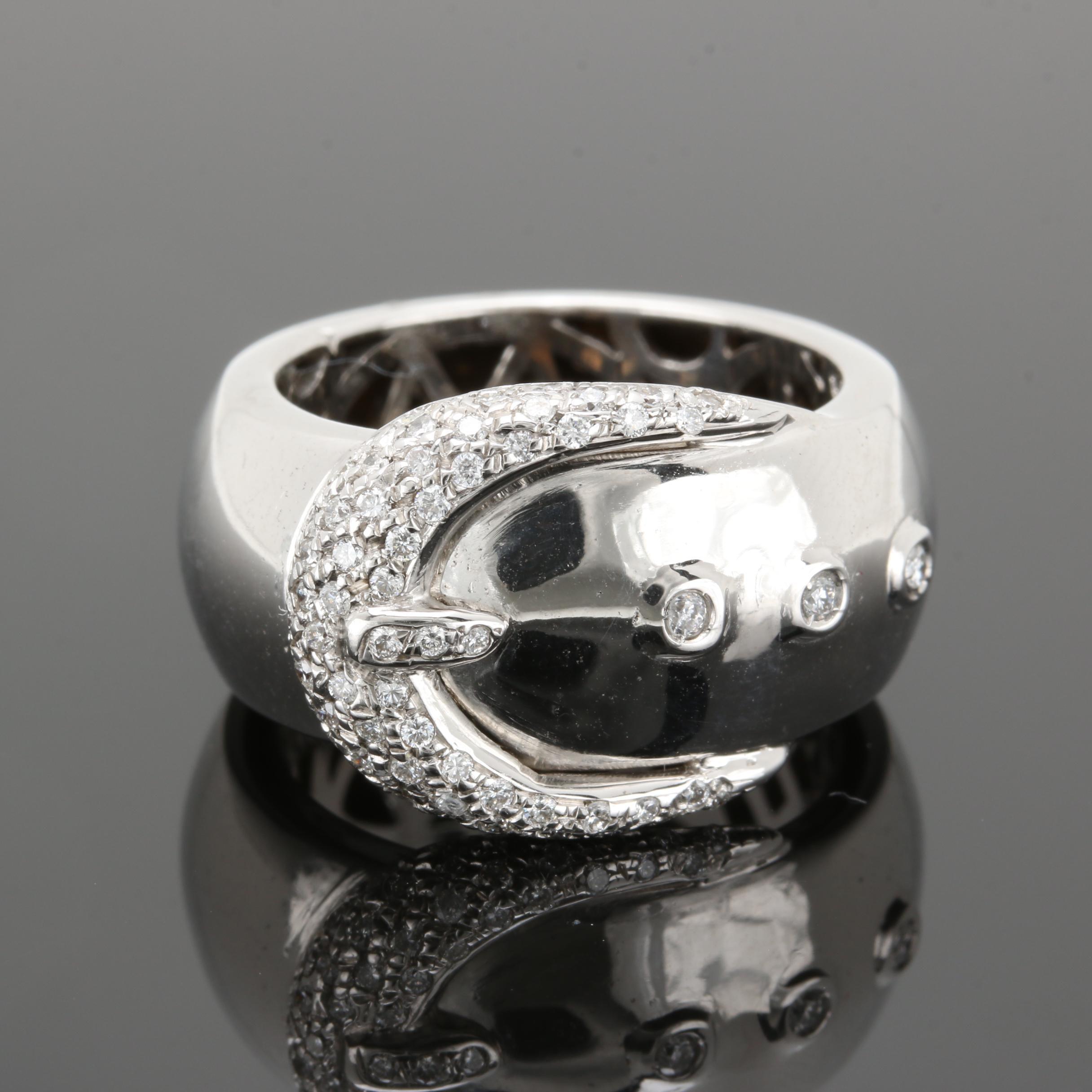 18K White Gold Diamond Buckle Ring