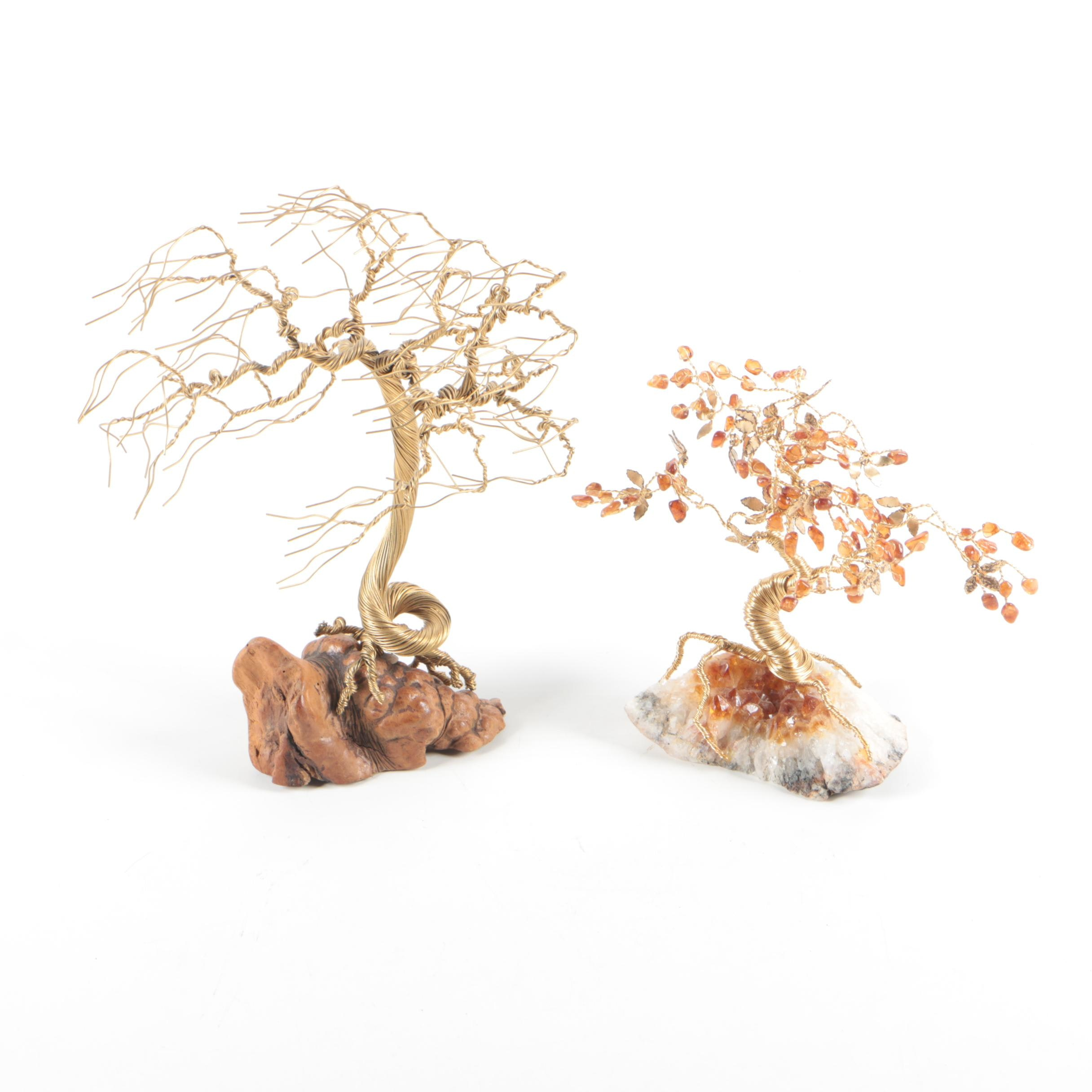 Hand Twisted Brass Wire and Stone Tree Sculptures