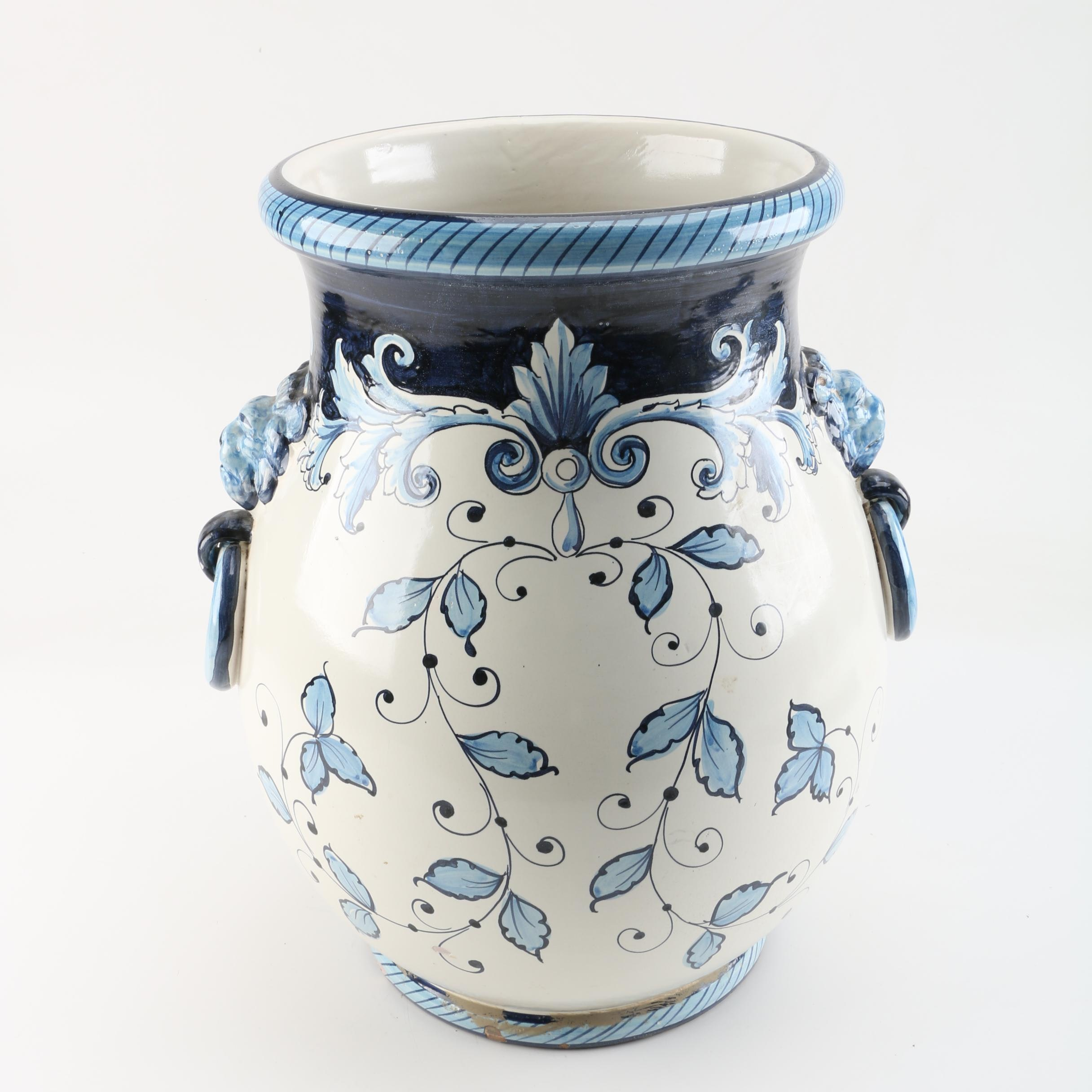 Hand-Painted Italian Earthenware Vase
