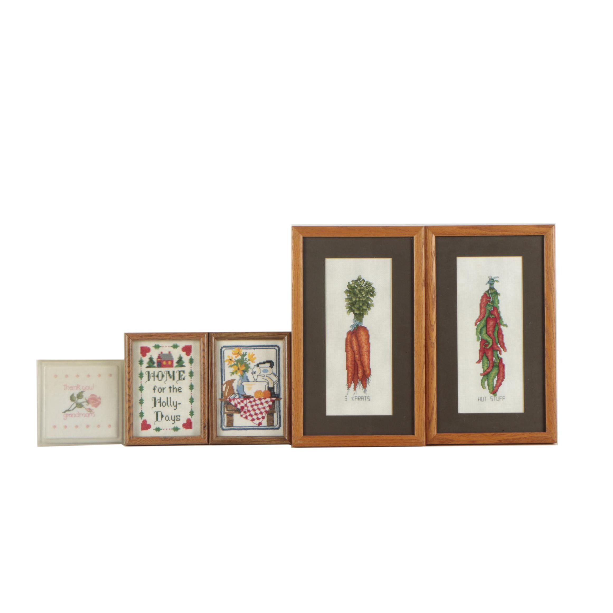 Collection of Cross-Stitch Embroidery Wall Decor
