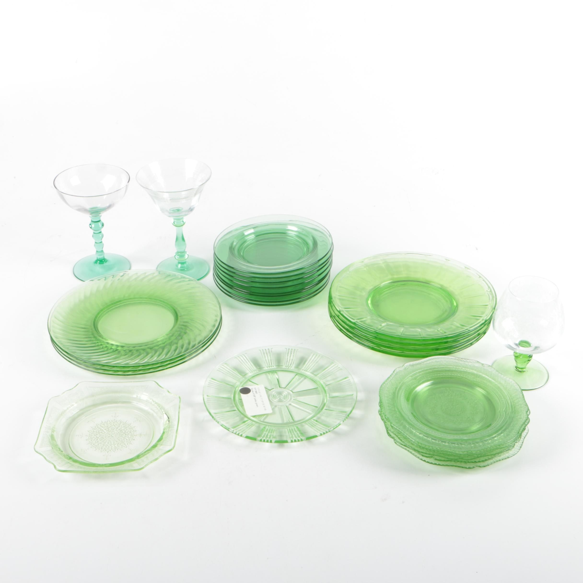 "Depression Glass Stemware and Anchor Hocking ""Spiral Green"" Plates"