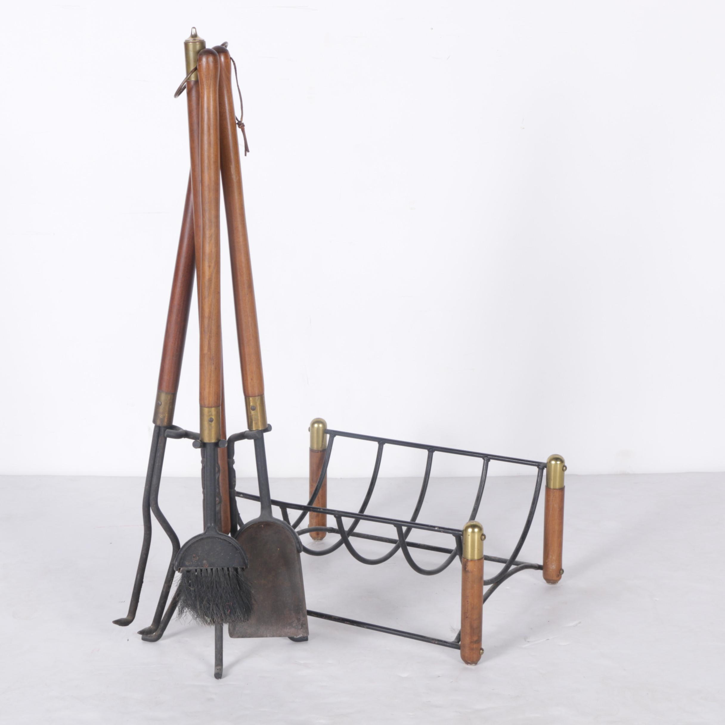 Wood and Brass Handled Fireplace Tools with Matching Rack