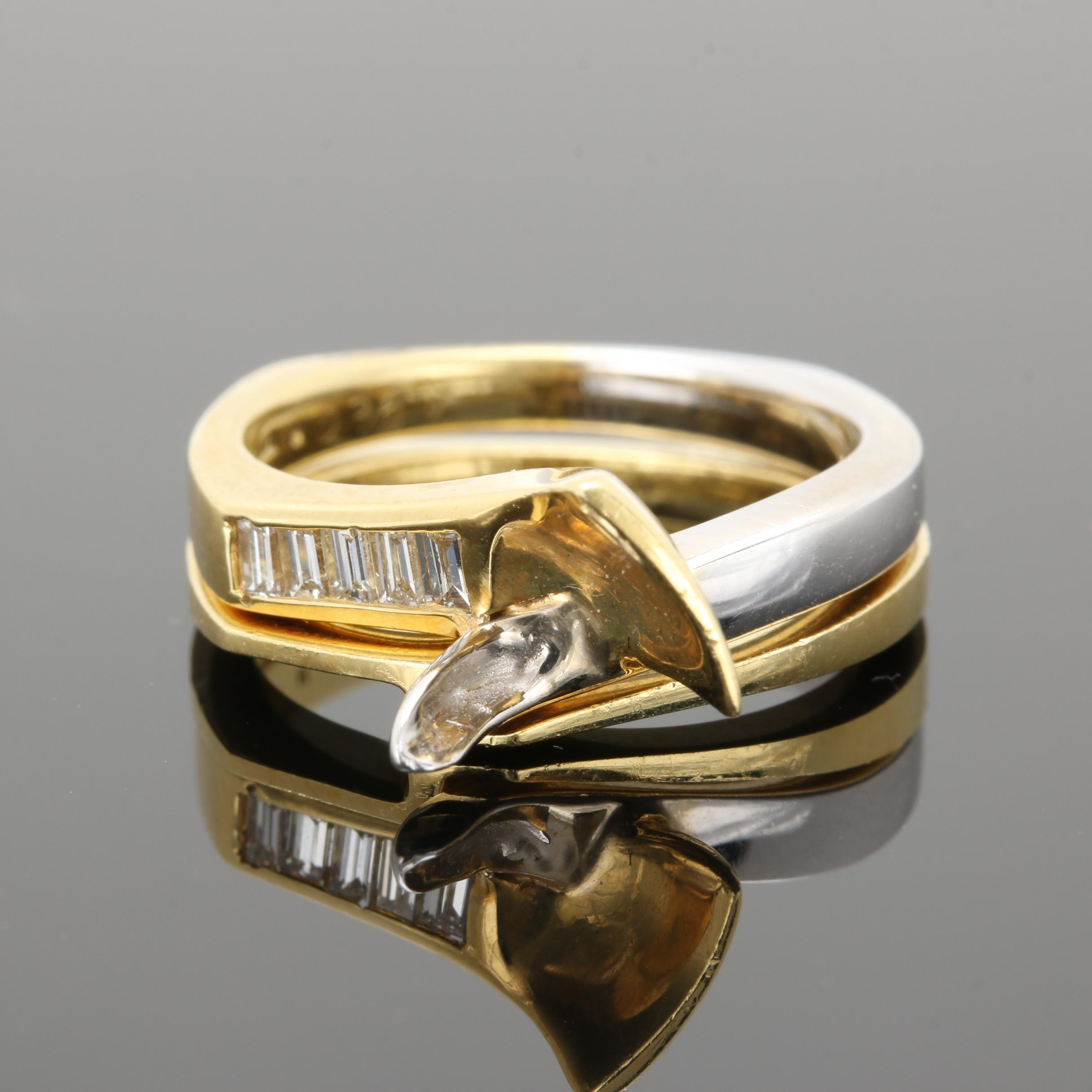 18K Yellow Gold Diamond Semi Mount Nesting Ring Set With White Gold Accent
