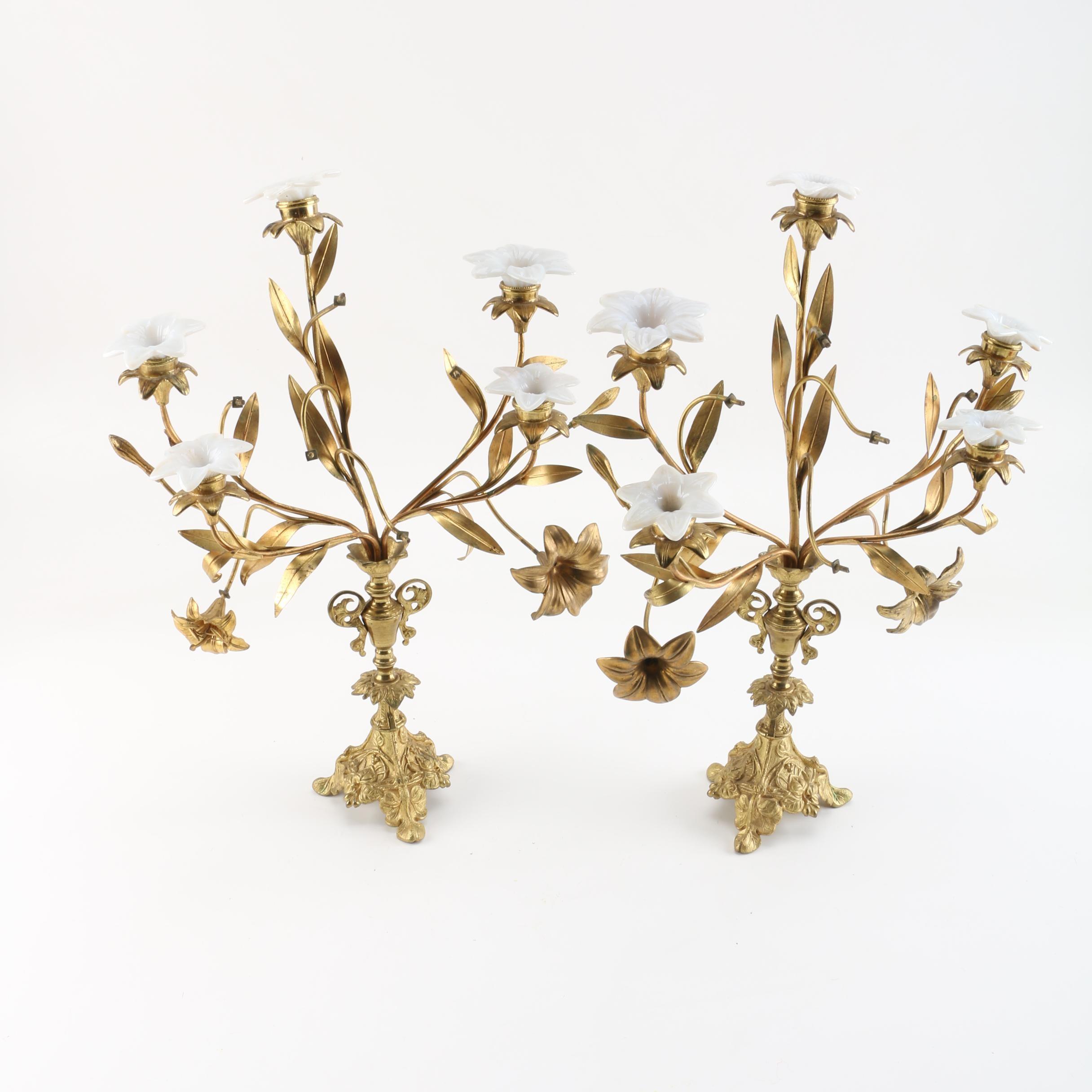 Art Nouveau Brass and Porcelain Candelabra