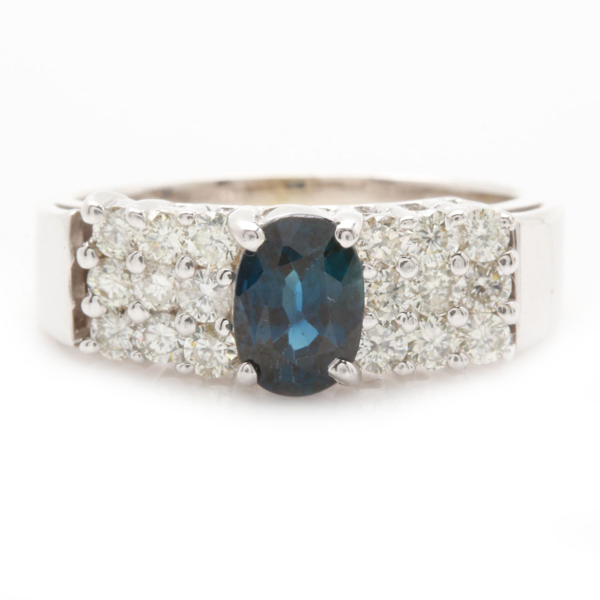 14K White Gold 1.00 CT Blue Sapphire and Diamond Ring