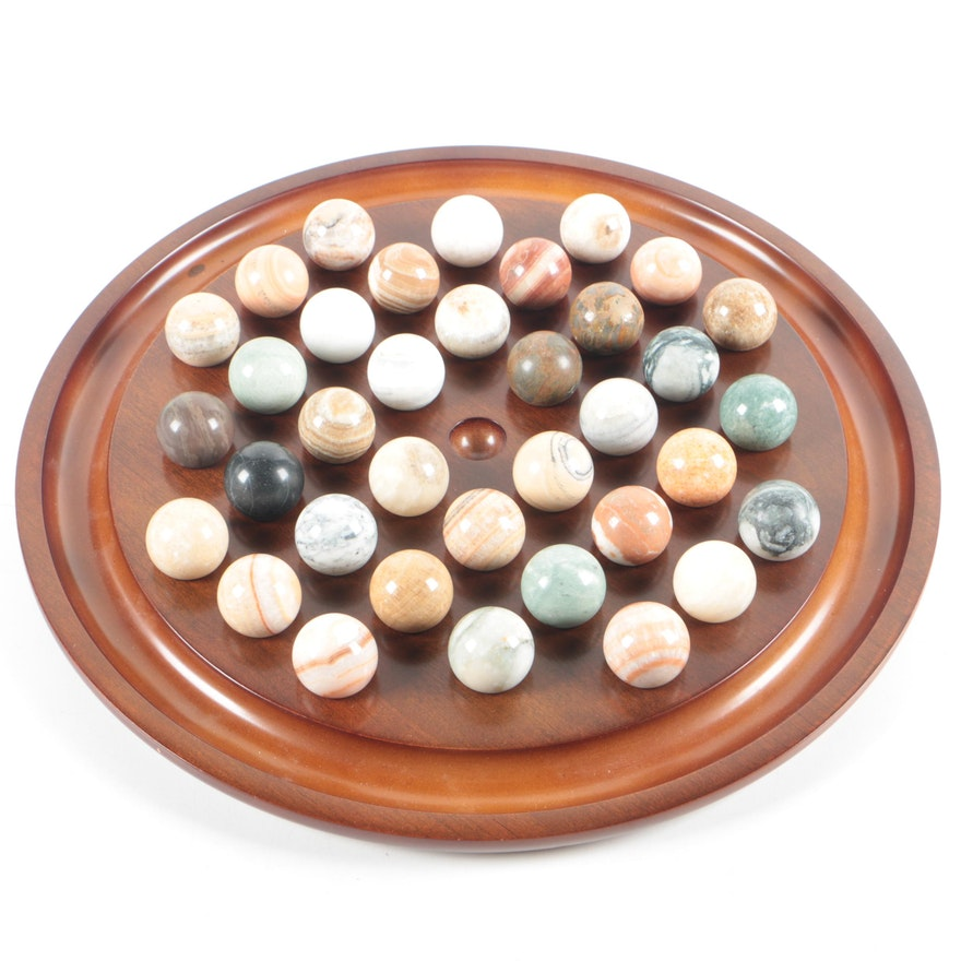 Stone And Wooden Solitaire Game Board With Mineral Marbles EBTH Gorgeous Game With Stones And Wooden Board