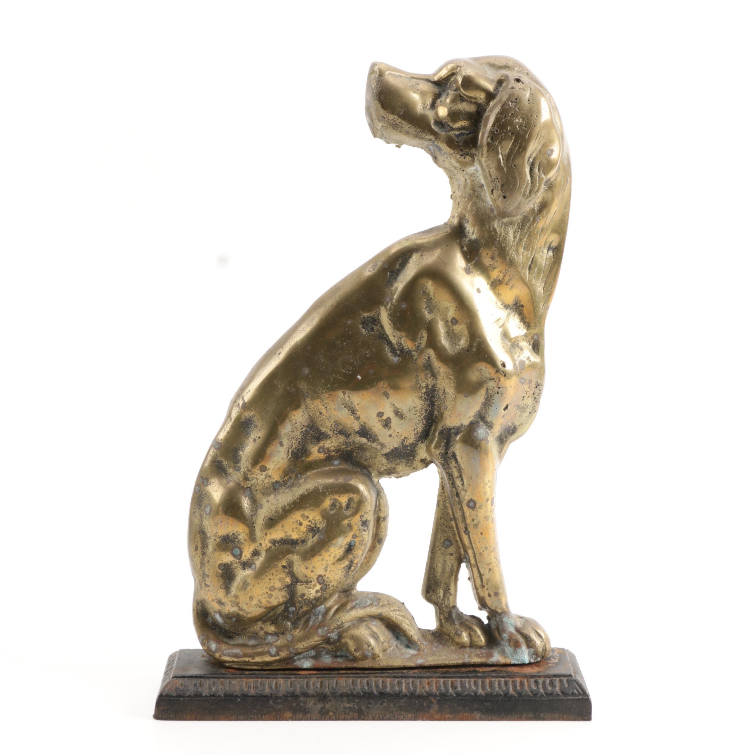 Vintage Brass Dog Doorstop