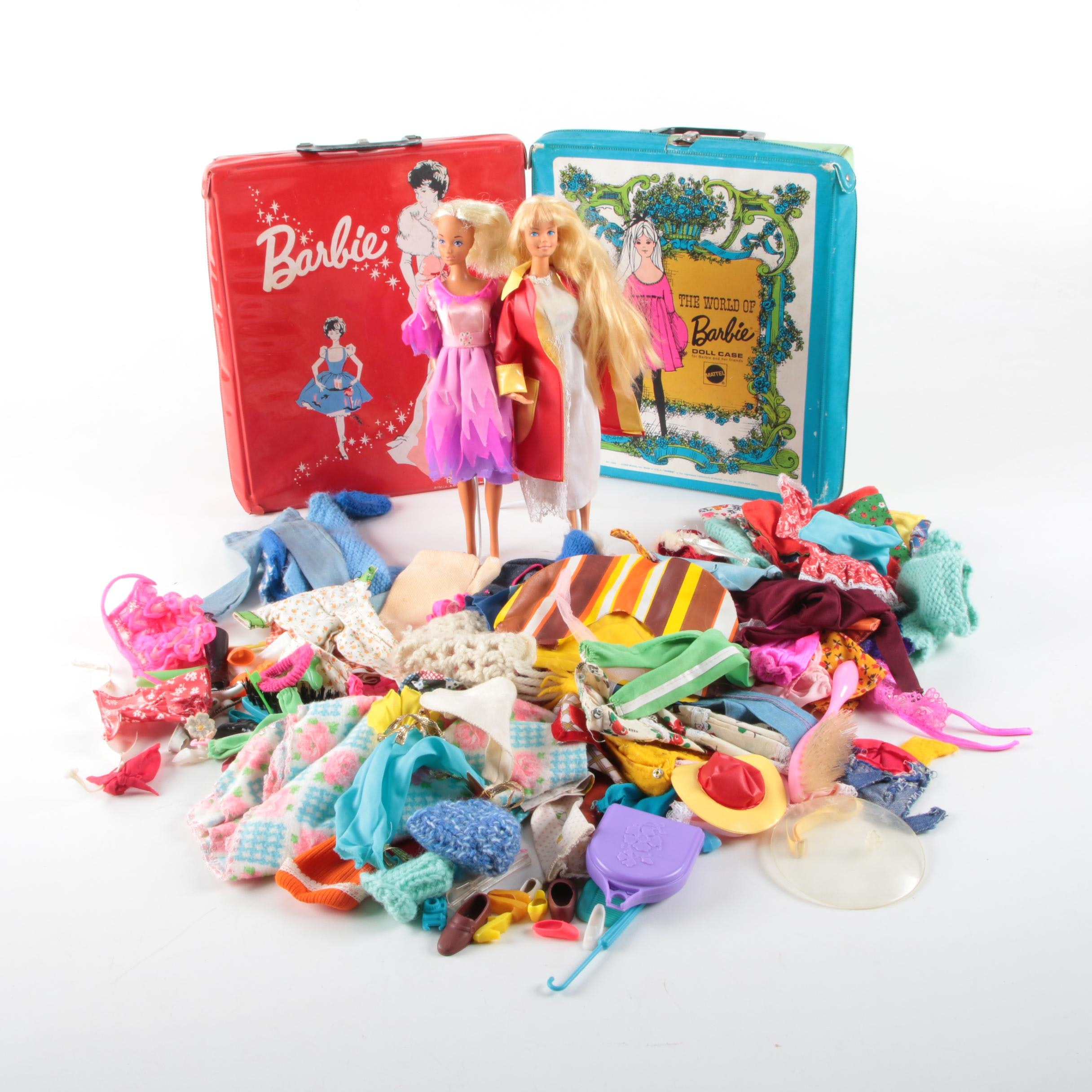 Vintage Mattel Barbie Dolls with 1960s Carrying Cases and Accessories
