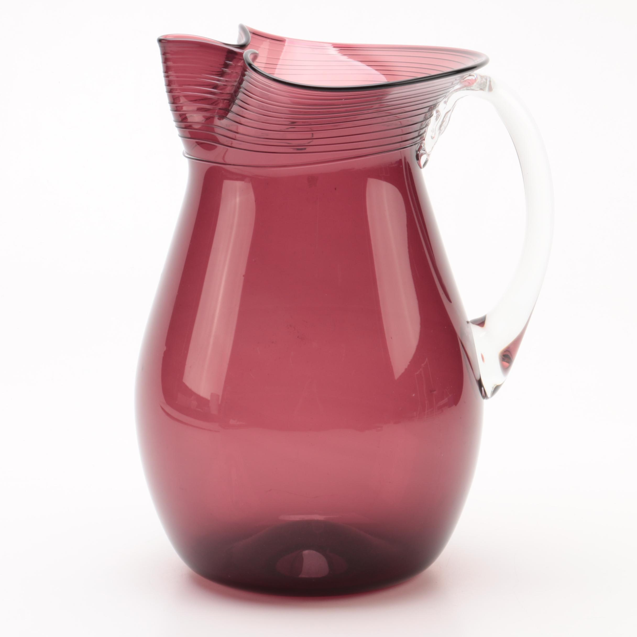 Signed Mid Century Amethyst Glass Pitcher