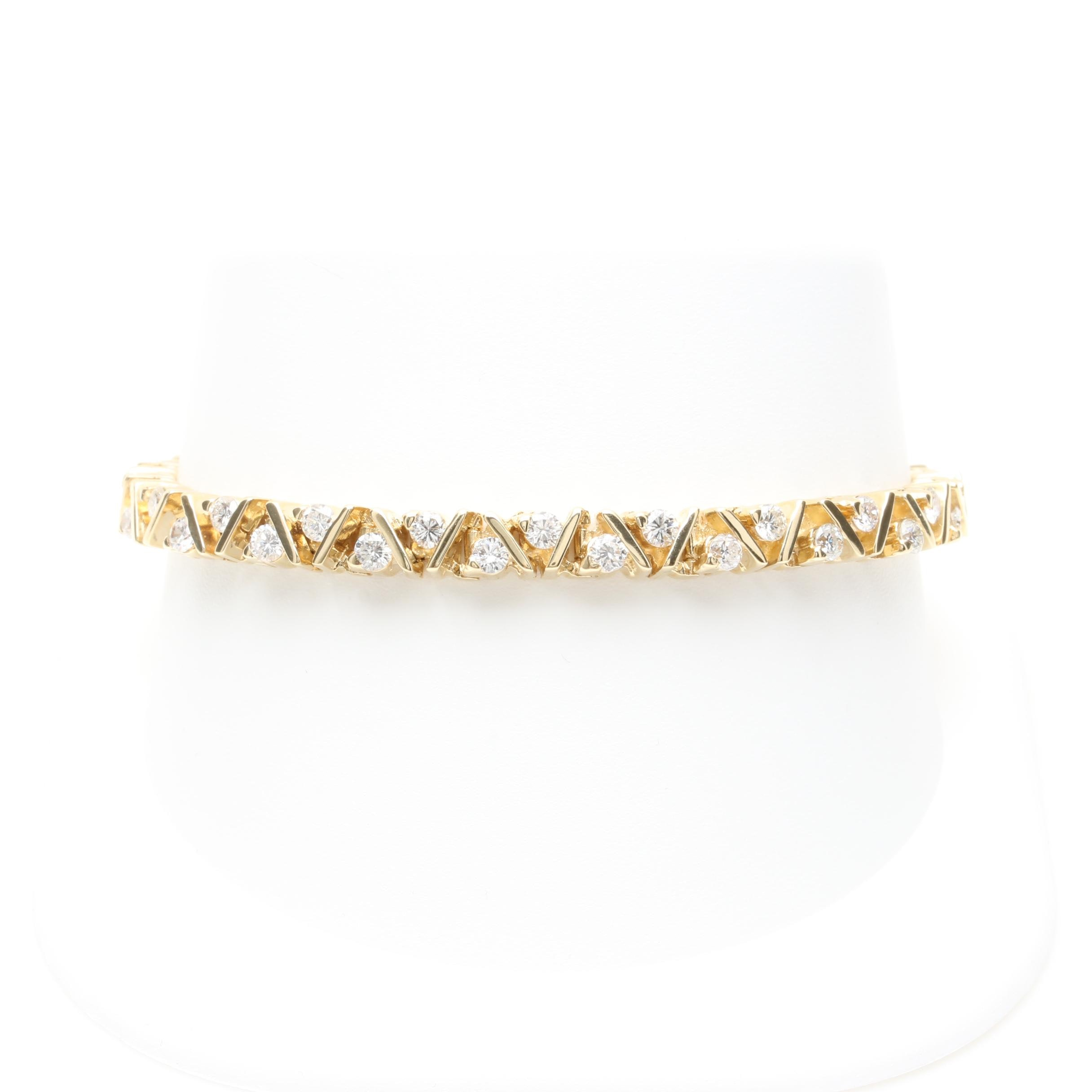 18K and 14K Yellow Gold 3.57 CTW Diamond Bracelet