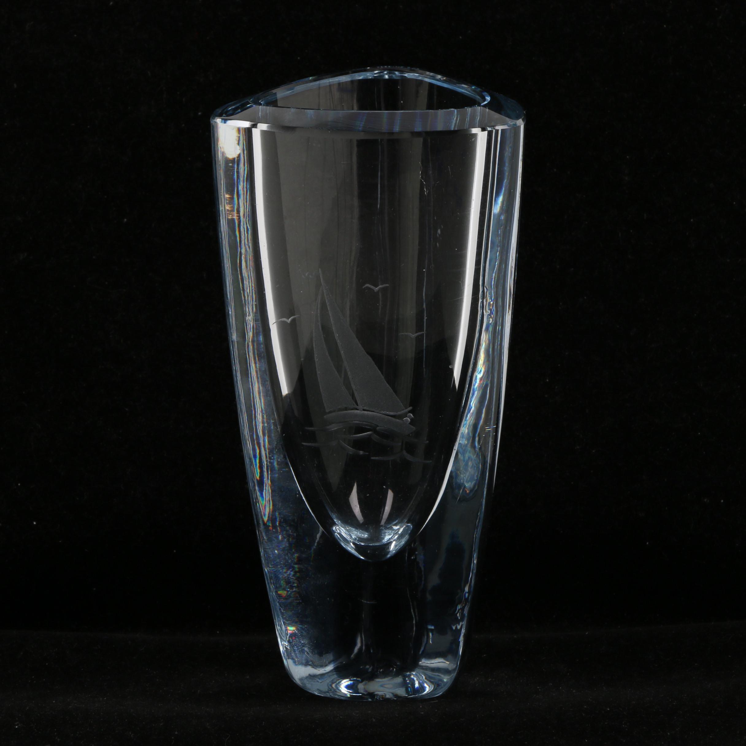 Vintage Strombergshyttan Etched Crystal Vase ca. 1950's