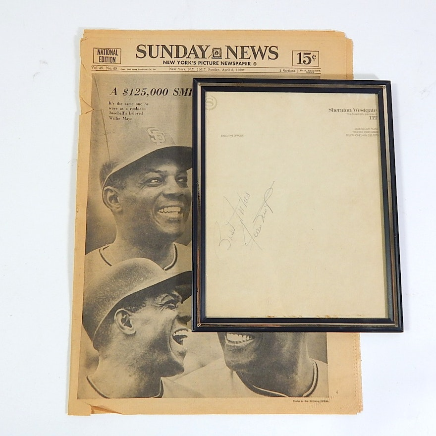 Framed Willie Mays Autograph and Newspaper Article : EBTH