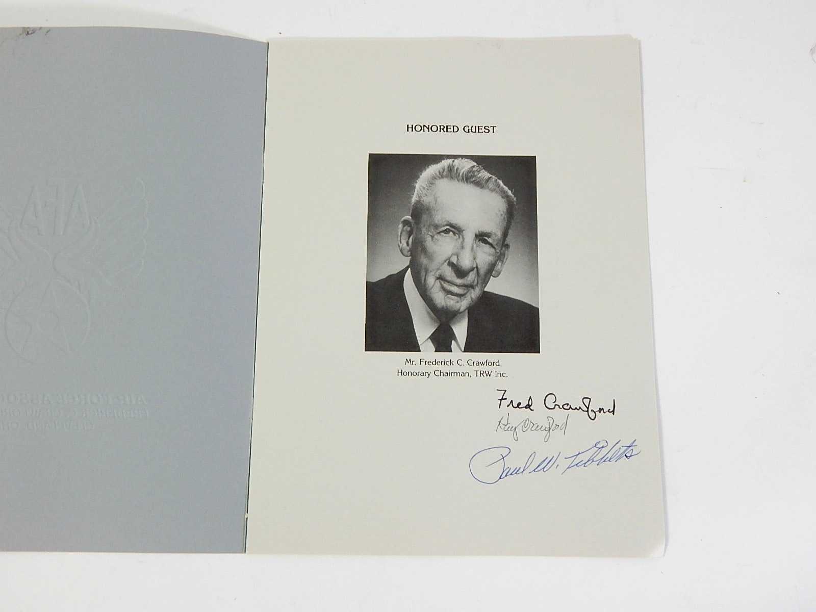 Air Force Autographed Program with Paul Tibbets and Fred Crawford