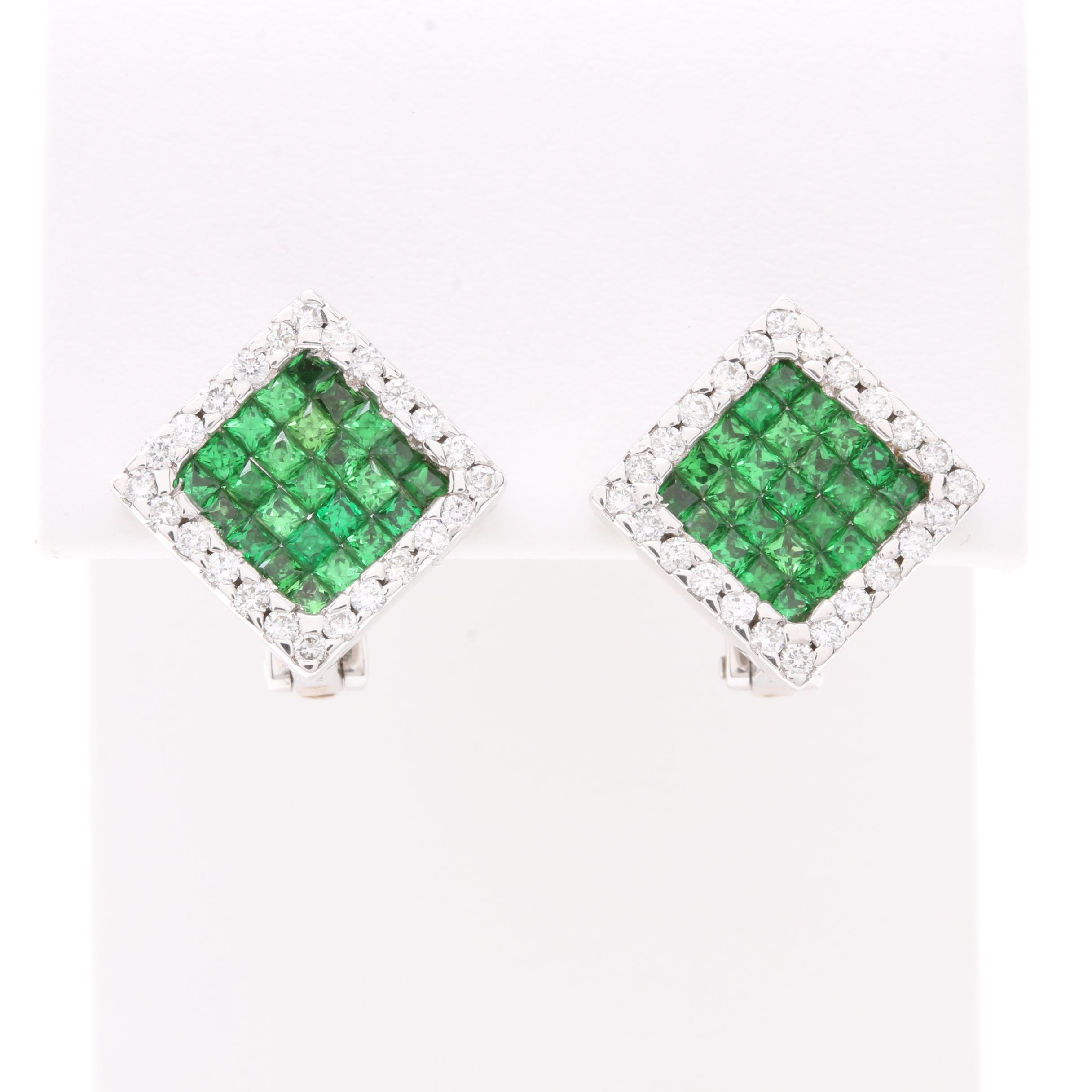 18K White Gold Tsavorite Garnet and Diamond Earrings