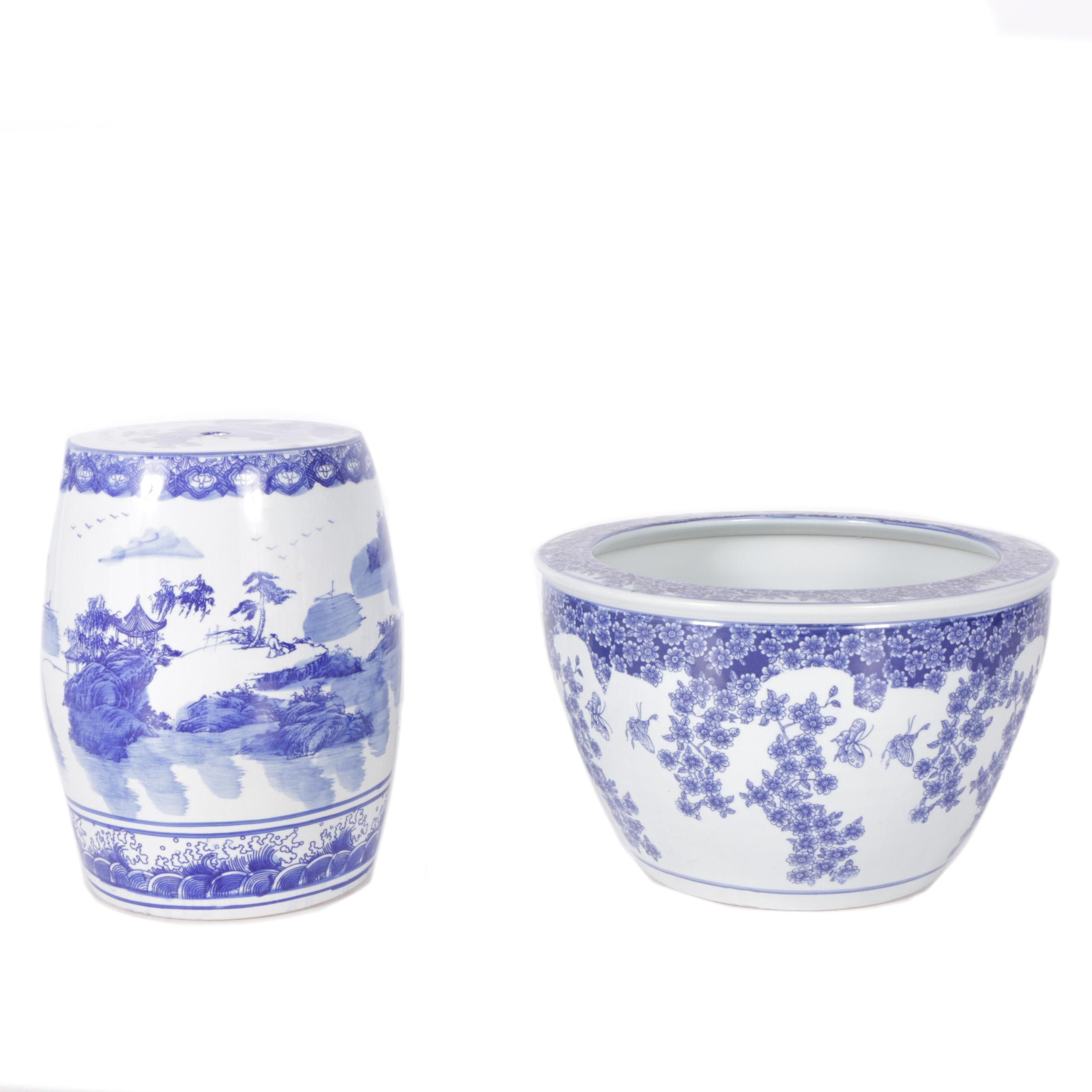 Chinese Blue and White  Ceramic Plant Stand and Planter