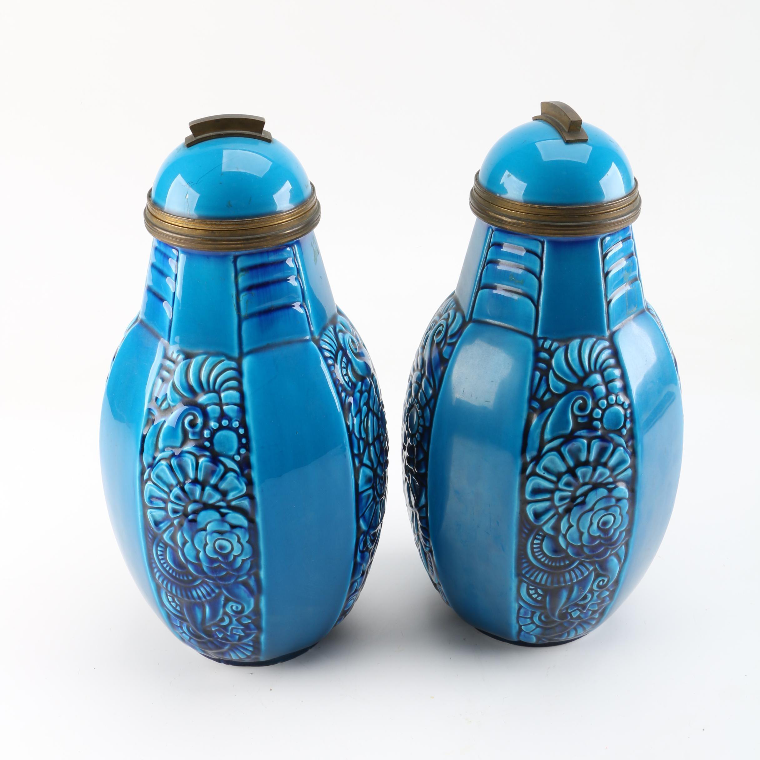 Vintage Paul Milet Sevres Art Deco Blue Lidded Urns