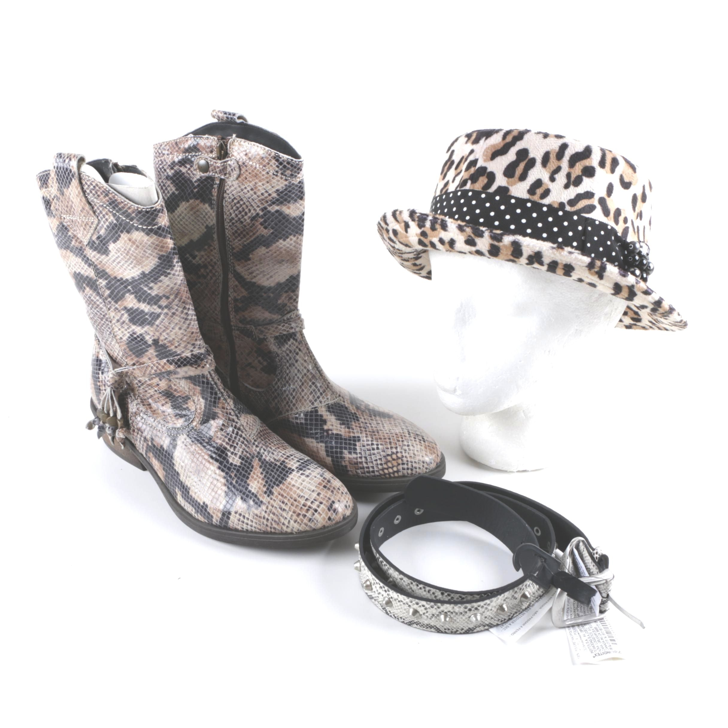 Snakeskin Printed Western Boots and Animal Print Accessories