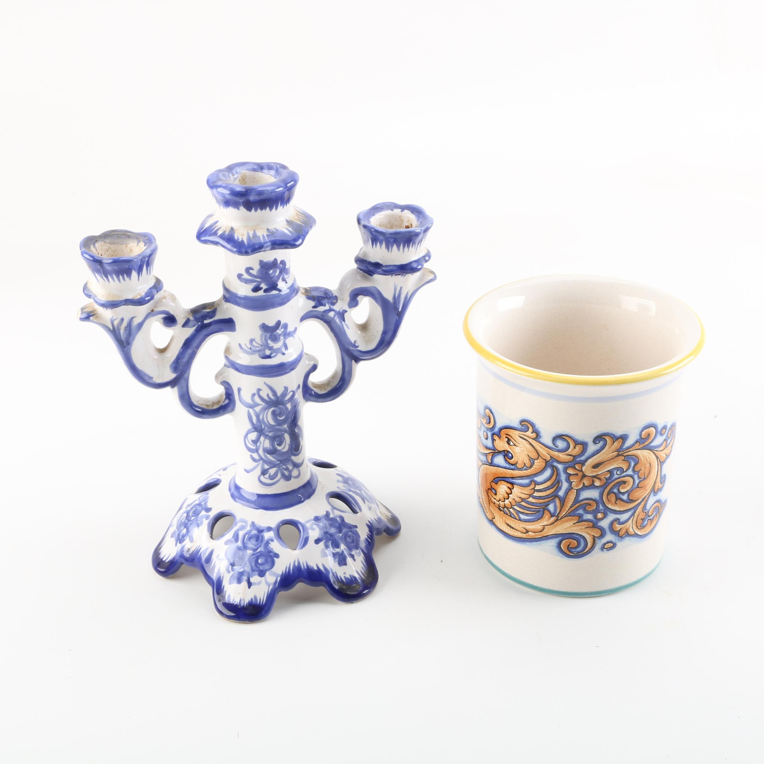 Hand-Painted Deruta Ceramiche Canister and Portugese Candelabra