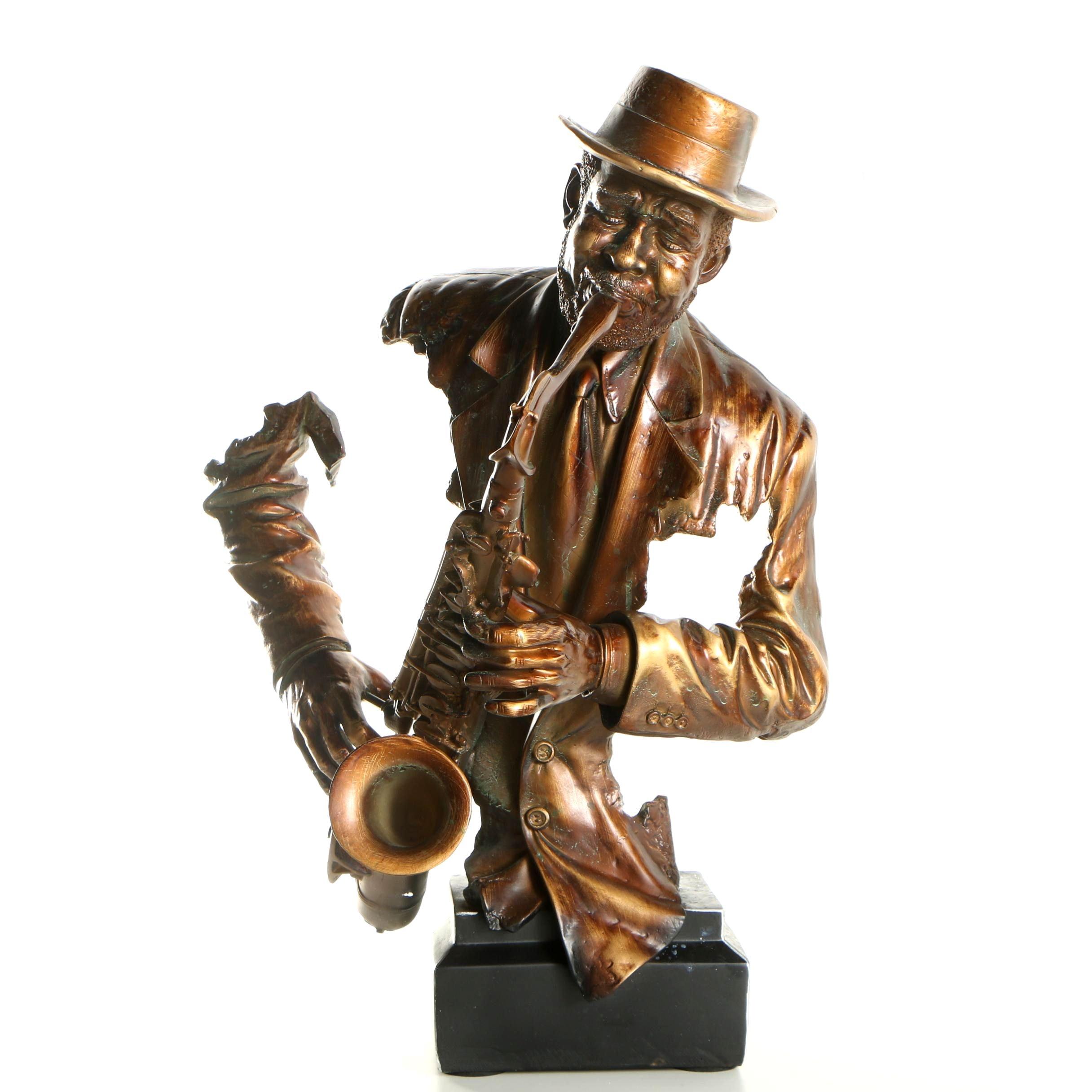 Plaster Sculpture of a Jazz Musician