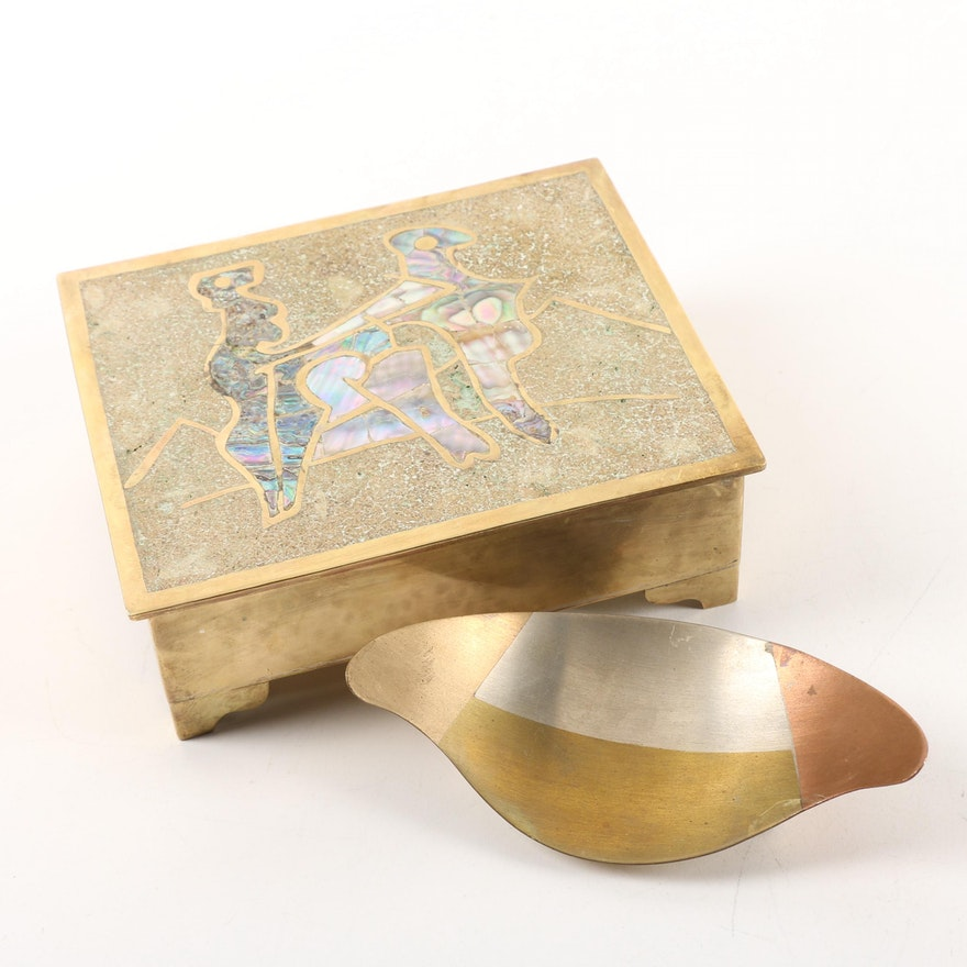 Taxco Metal Bowl And Abalone And Brass Box Ebth