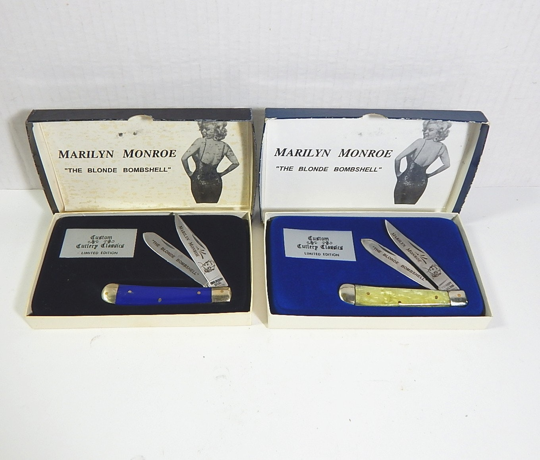 Two Marilyn Monroe Solingen Custom Cutlery Classics Double Bladed Folding Knives