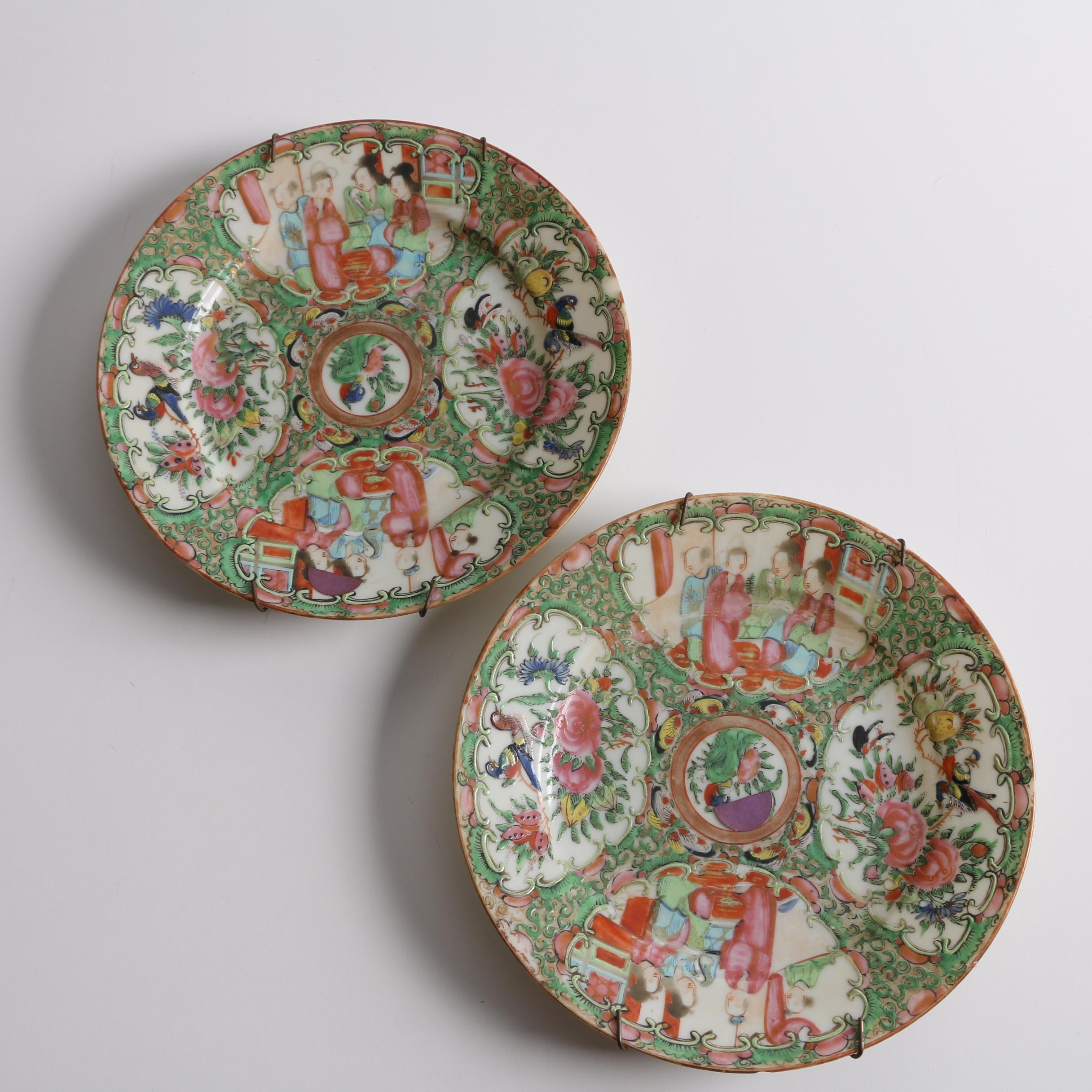 Antique Chinese Rose Medallion Porcelain Plates