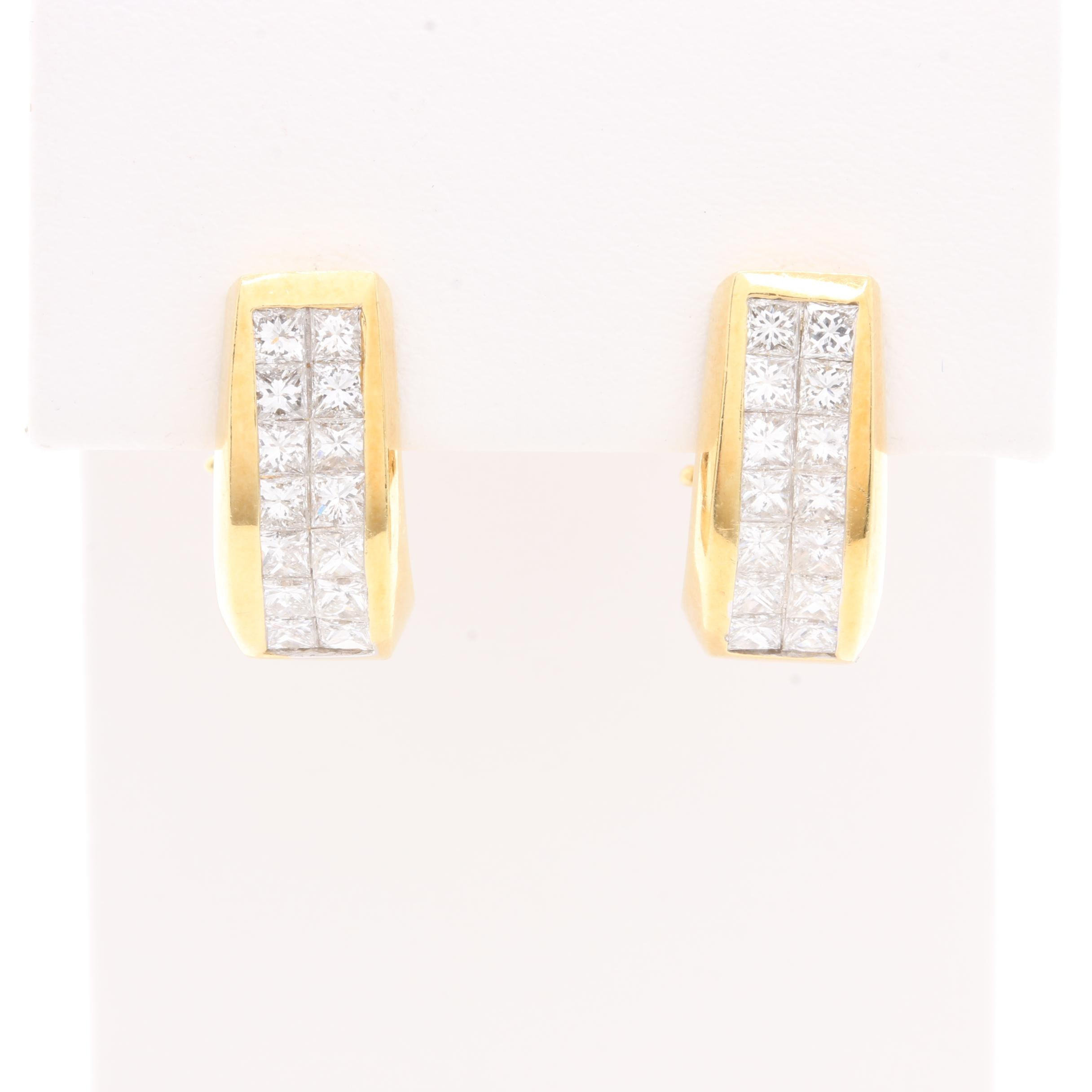 18K Yellow Gold 1.47 CTW Diamond Earrings