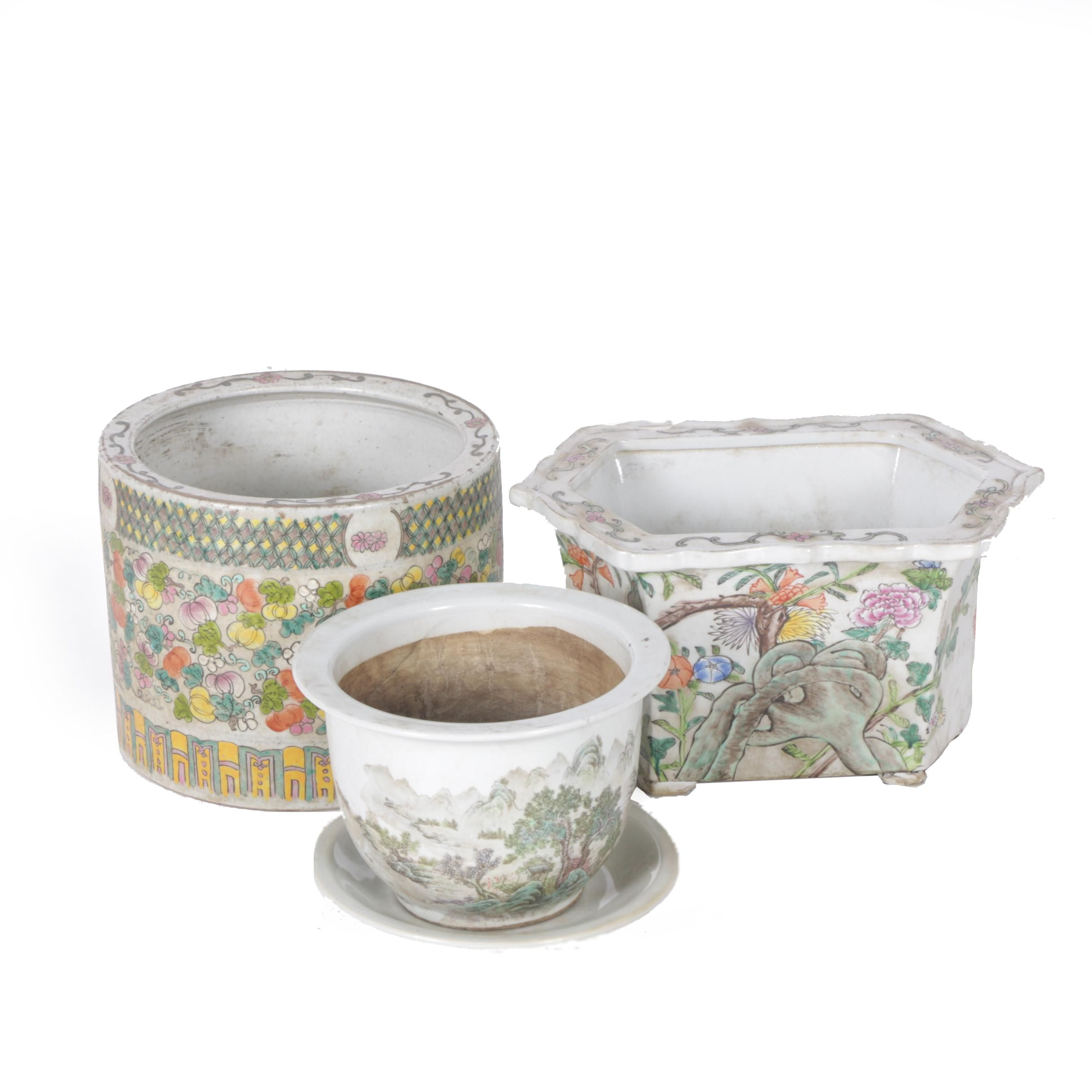 Chinese Floral and Landscape Motif Planters