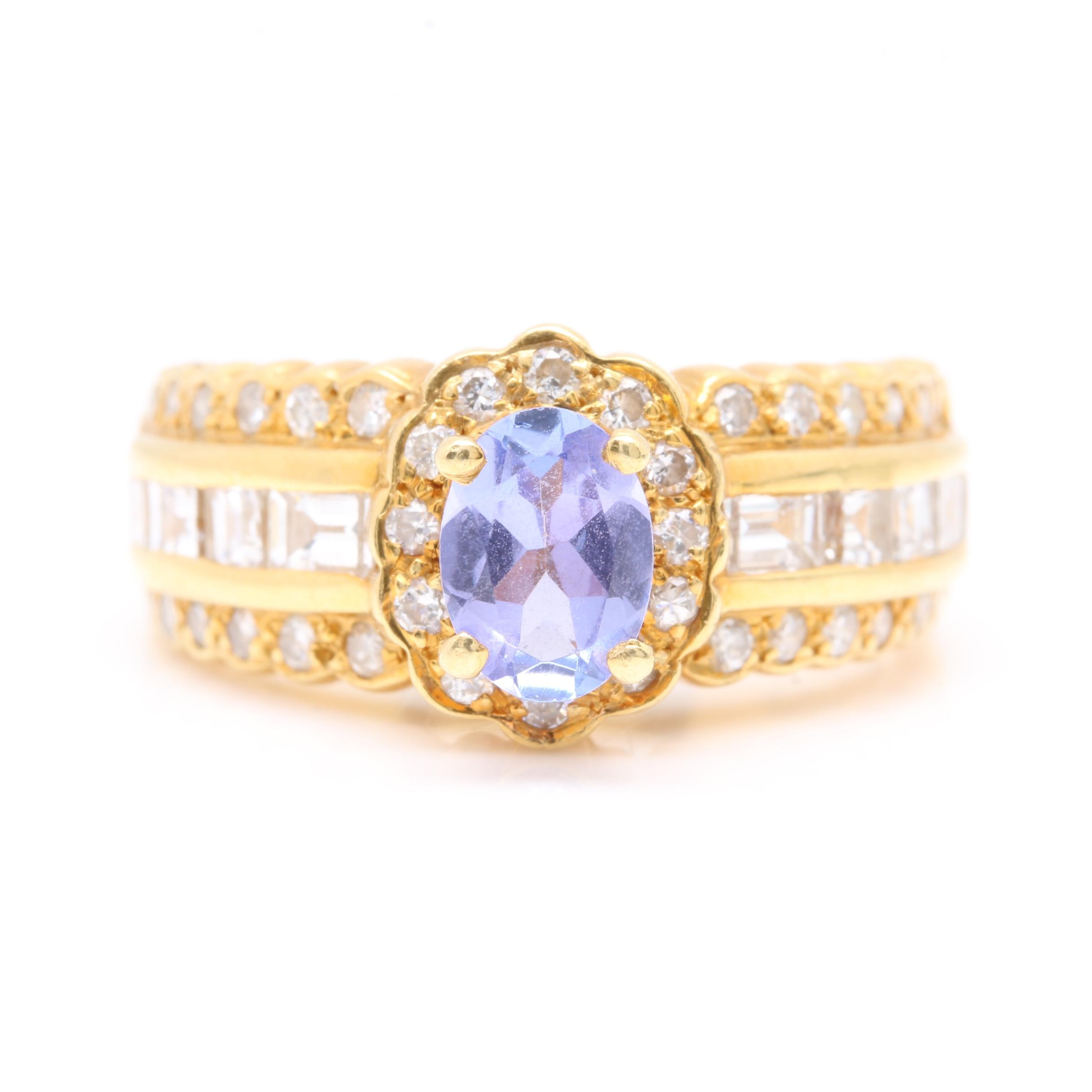 18K Yellow Gold Tanzanite and 1.45 CTW Diamond Ring
