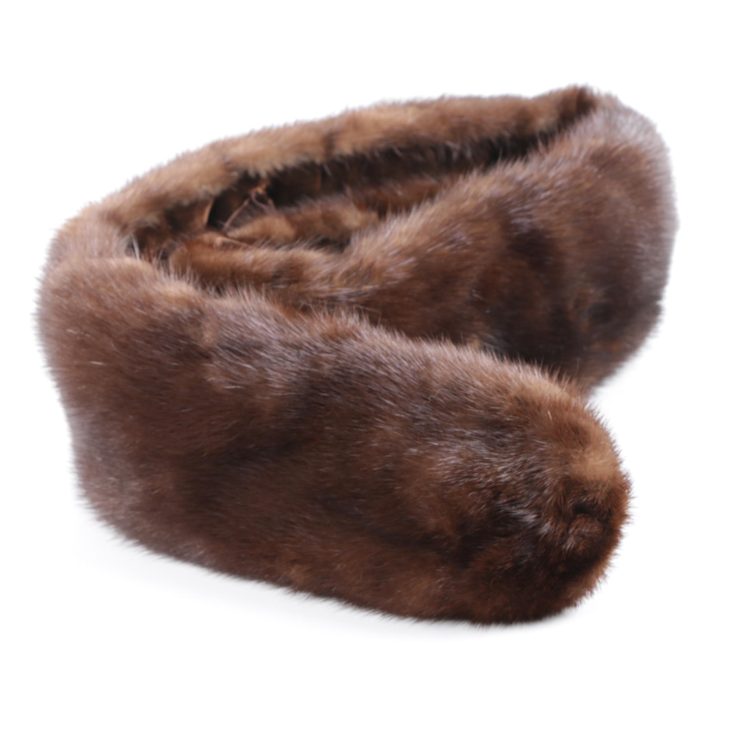 Women's Vintage Brown Mink Fur Collar