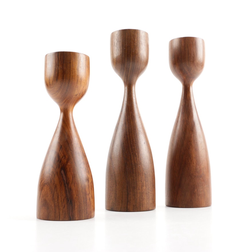 Mid Century Modern Danish Wood Candle Holders