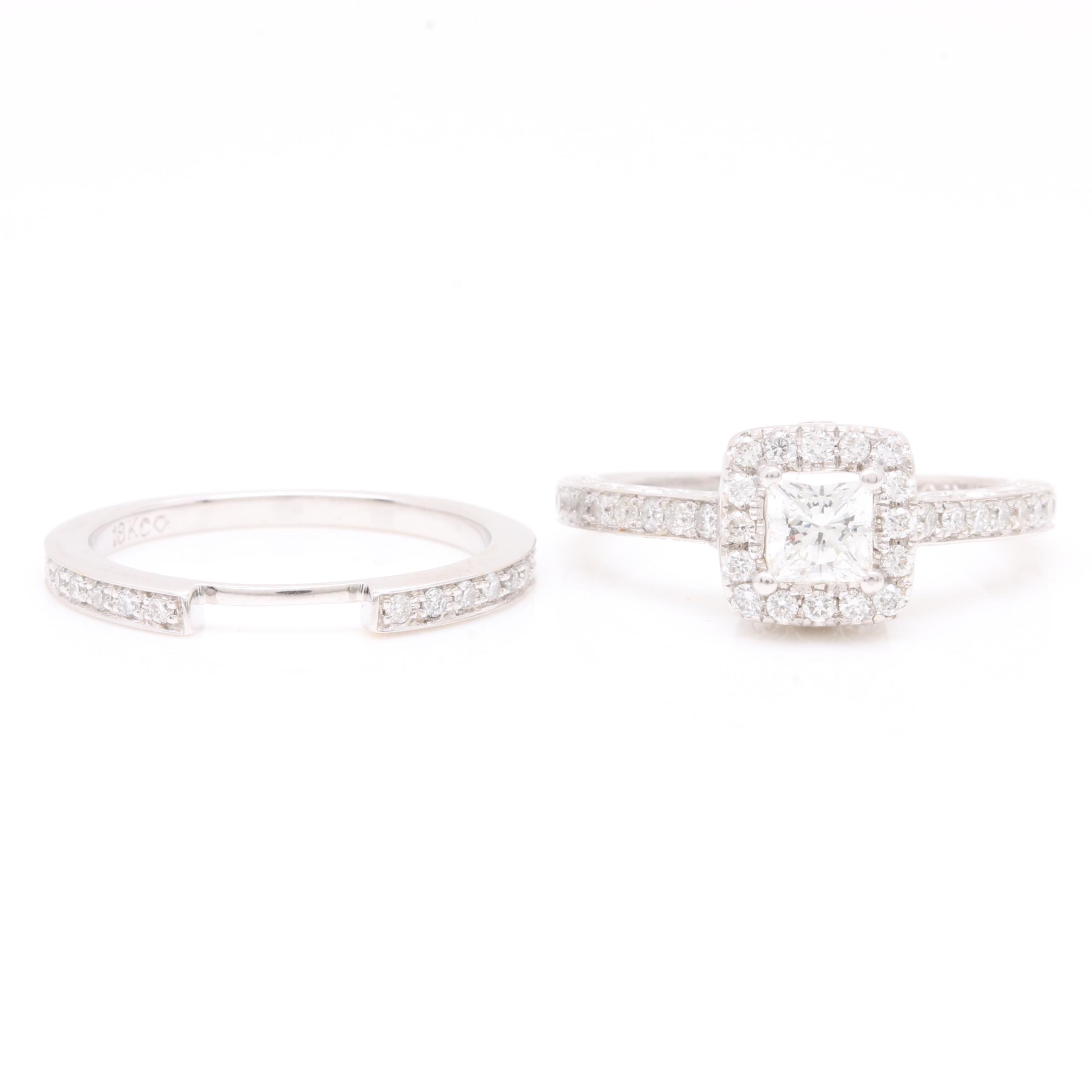 18K White Gold 1.02 CTW Diamond Ring Set