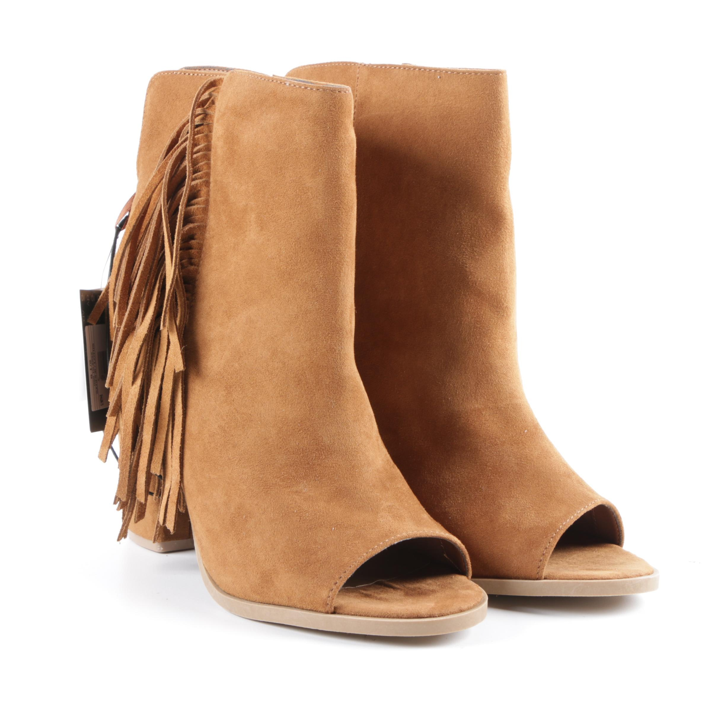 DV Designed by Dolce Vita Lotus Saddle Suede Peep-Toe Ankle Booties with Fringe