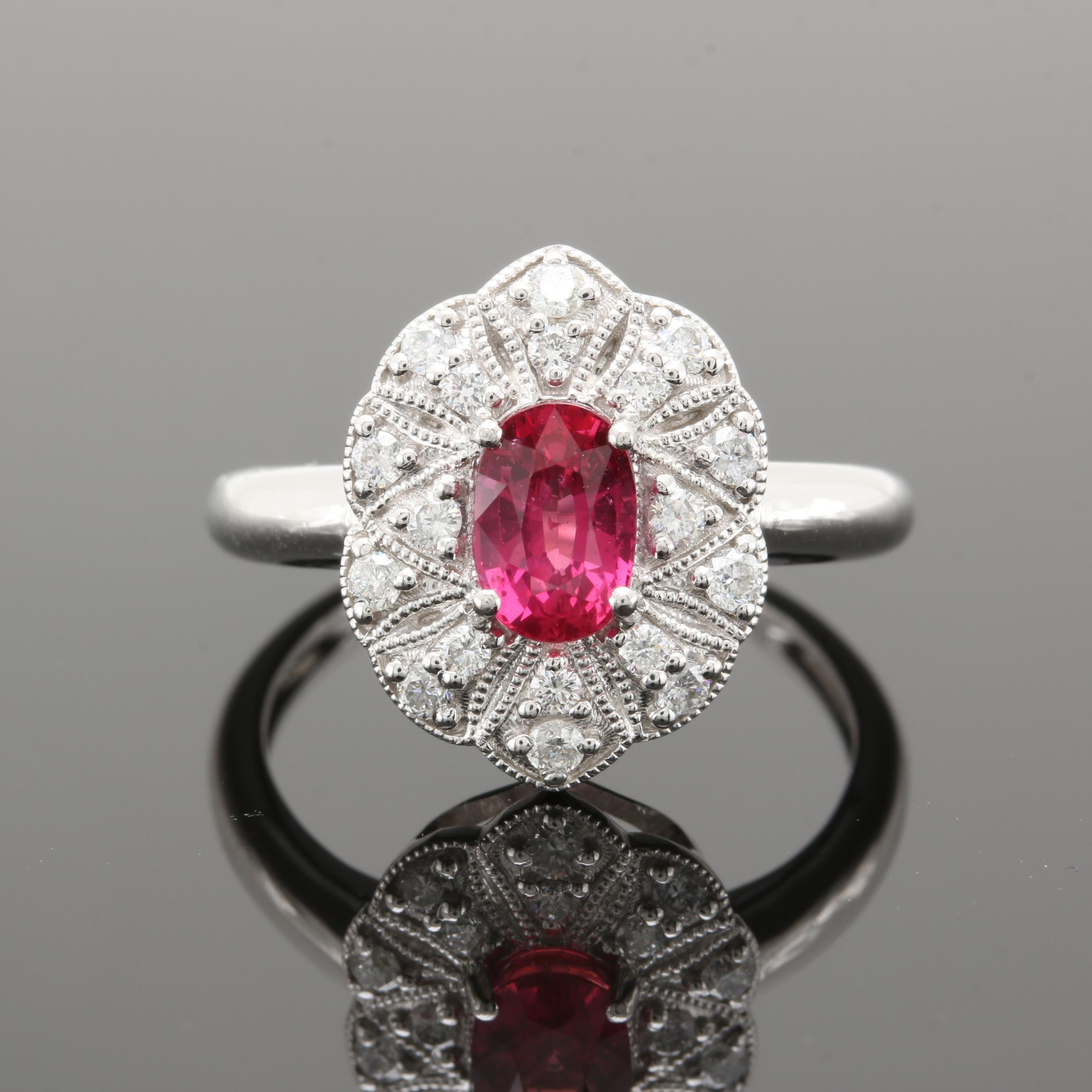 Platinum 1.20 CT Ruby and Diamond Ring With GIA Report