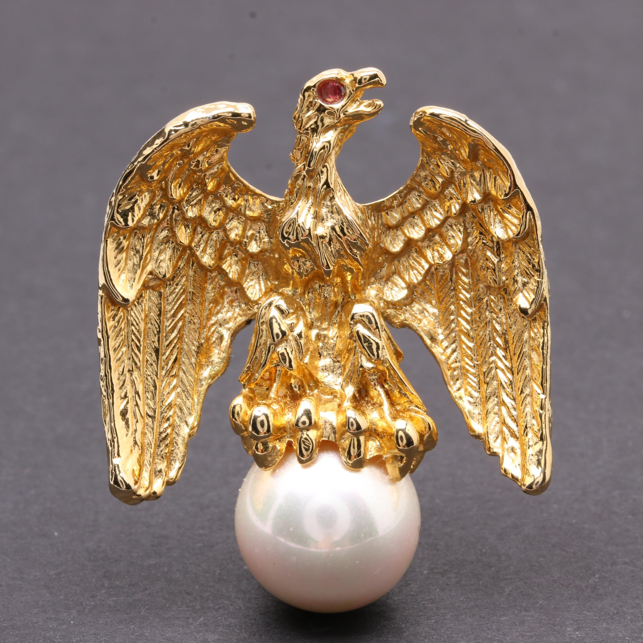 "Ann Hand ""Liberty Eagle"" Ruby and Imitation Pearl Brooch"