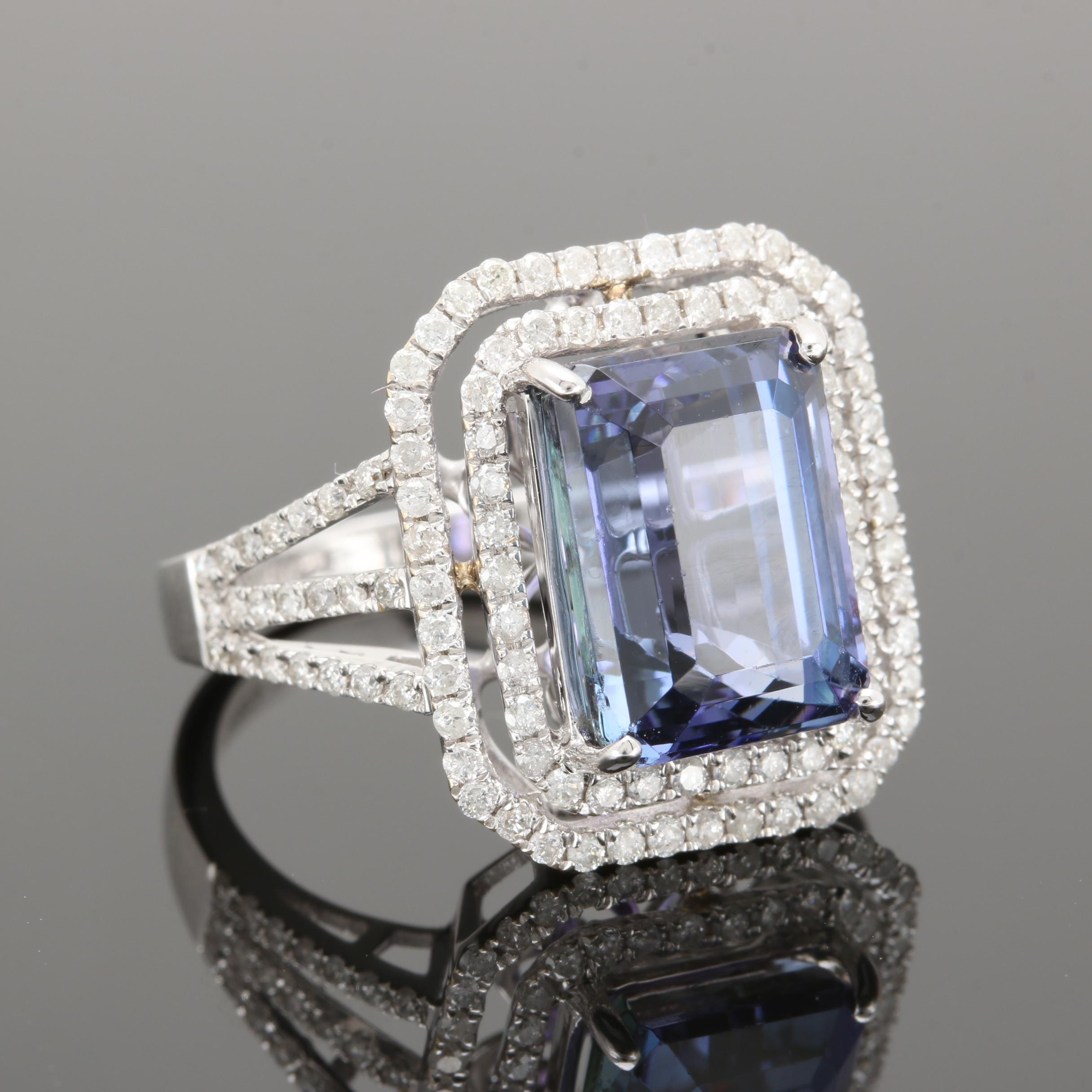 18K White Gold 6.87 CT Tanzanite and Diamond Ring With GIA Report